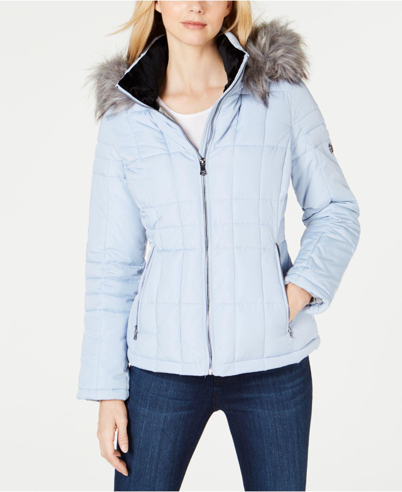 69d95e2126d47 Lyst - Calvin Klein Faux-fur-trim Hooded Puffer Coat in Blue