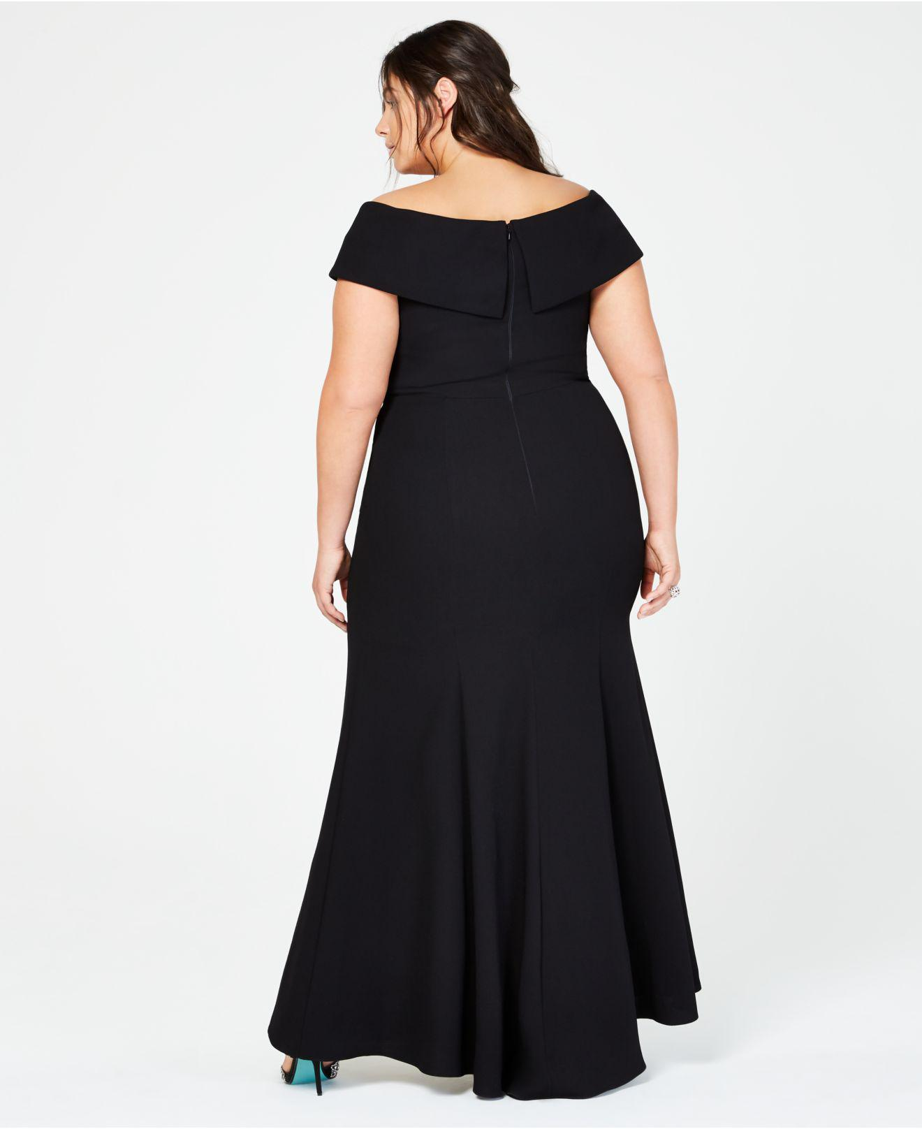 a99956acbcadd Lyst - Xscape Plus Size Off-the-shoulder Slit Gown in Black