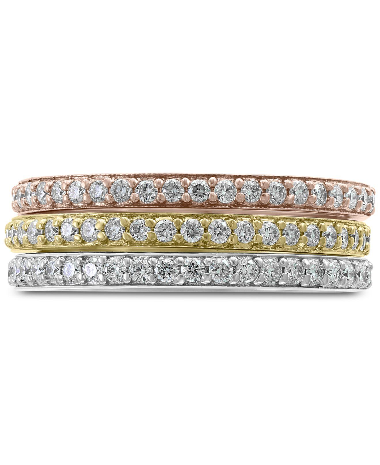 4262affdb Effy Collection - Metallic Effy® Diamond Tri-color Band Ring (5/8. View  fullscreen