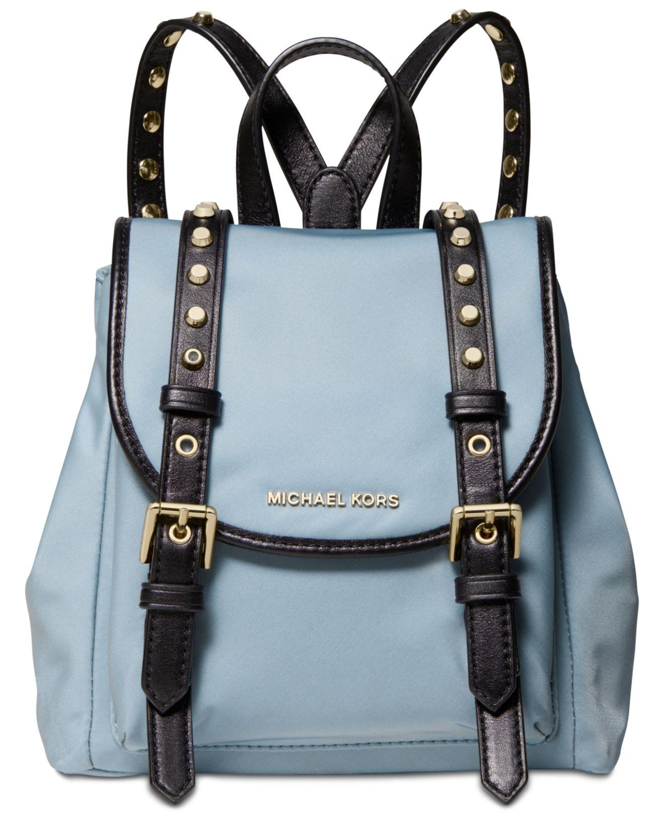 7d809a9779e323 Michael Kors - Blue Michael Leila Mini Flap Nylon Backpack - Lyst. View  fullscreen