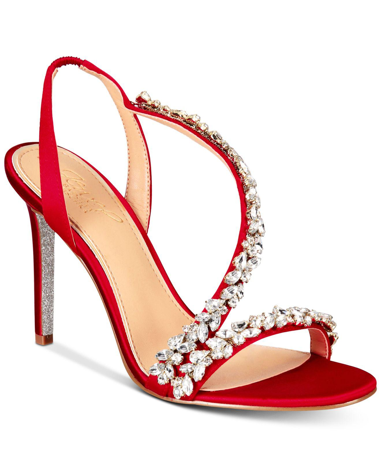 9582a3718fa Lyst - Badgley Mischka Java Embellished Evening Sandals in Red