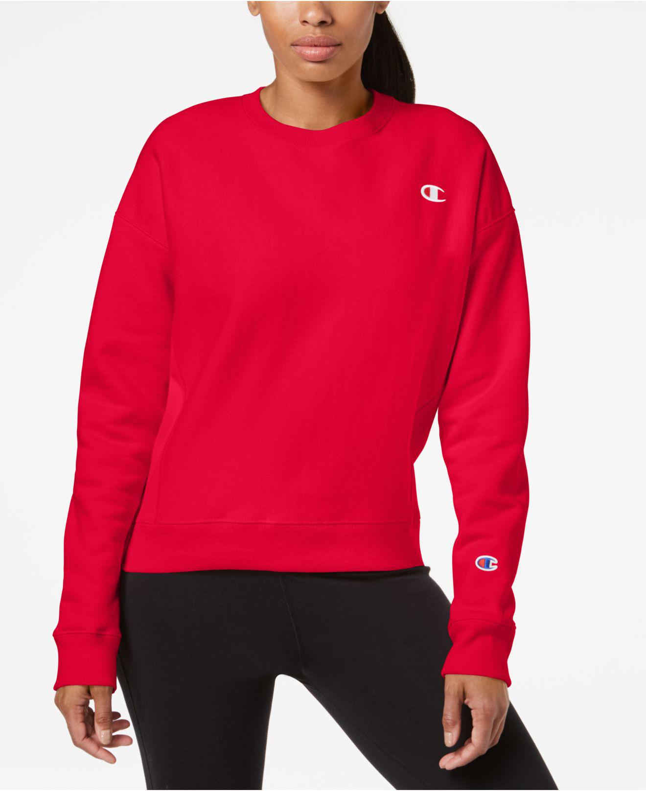 410cc1590bda Lyst - Champion Essential Reverse Weave Fleece Sweatshirt in Red