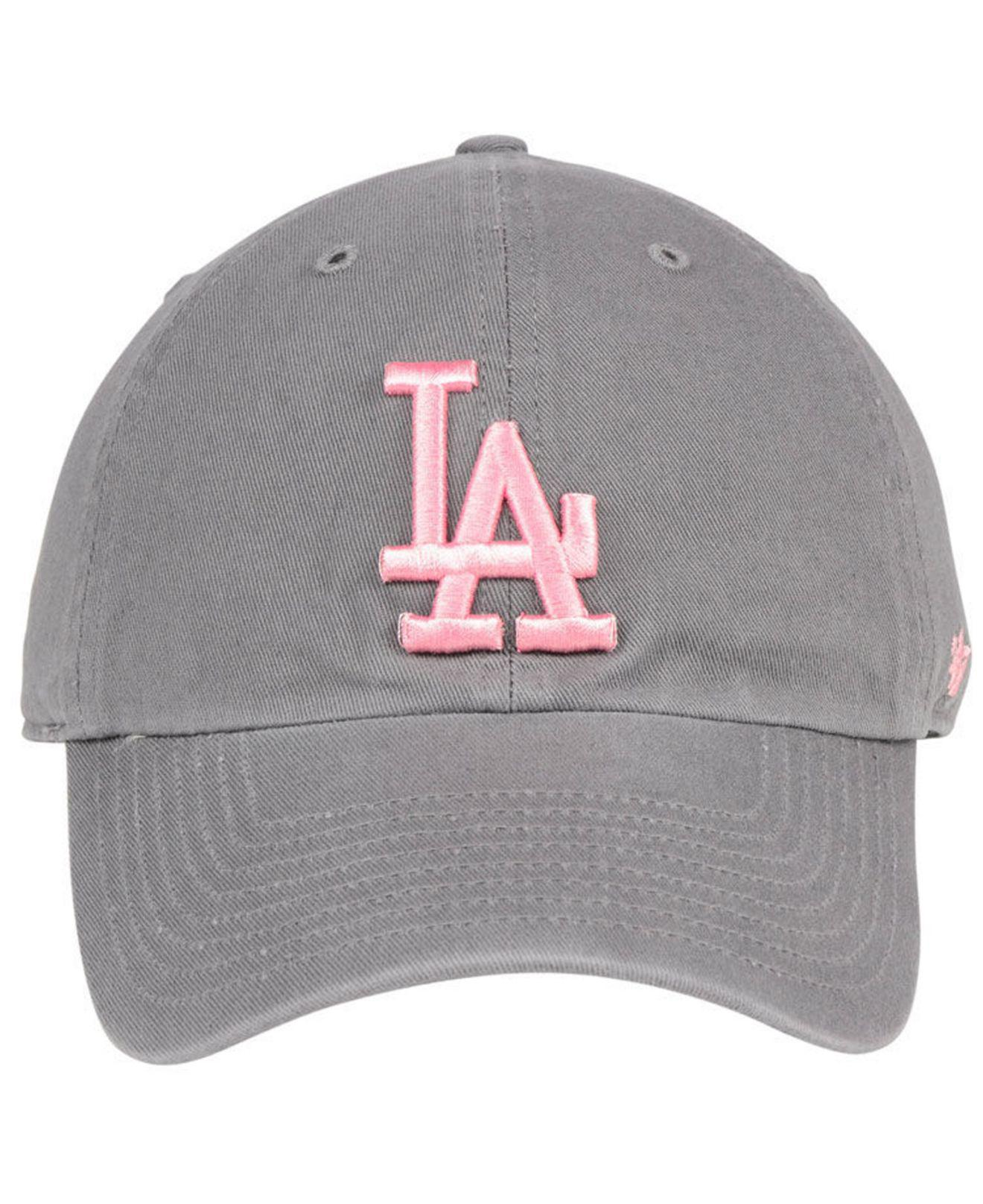 61c3f8c369ec1 ... ebay lyst 47 brand los angeles dodgers dark gray pink clean up cap in  gray 4cc8a