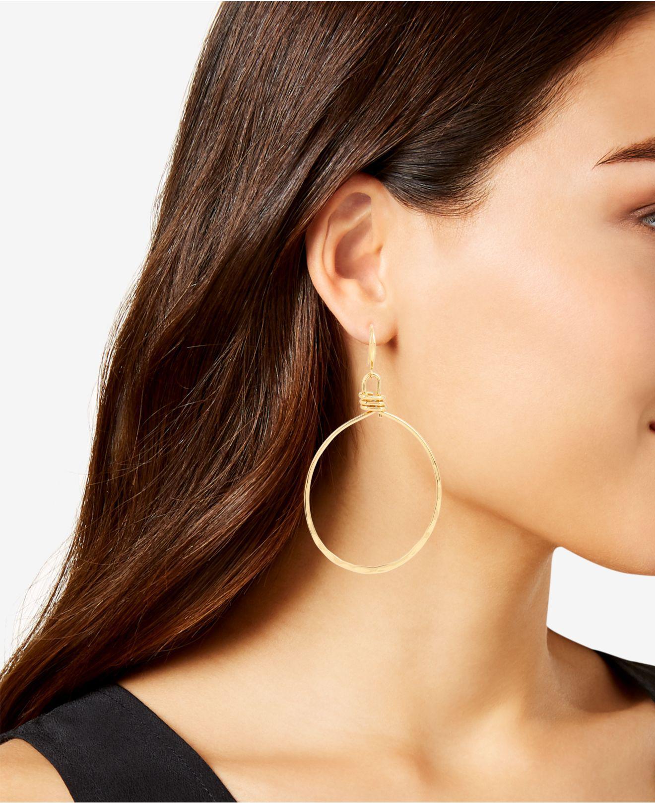 Lyst Robert Lee Morris Extra Large Gold Tone Wire Gypsy Hoop Earrings In Metallic