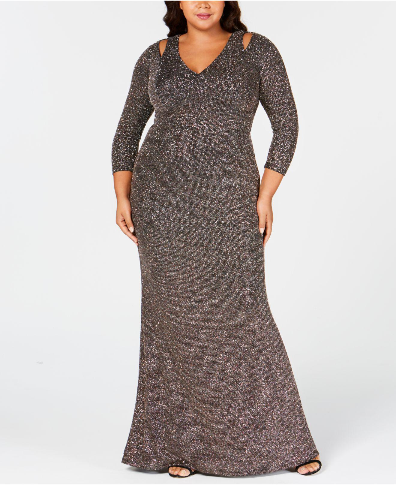 Lyst Calvin Klein Plus Size Cutout Glitter Gown In Black