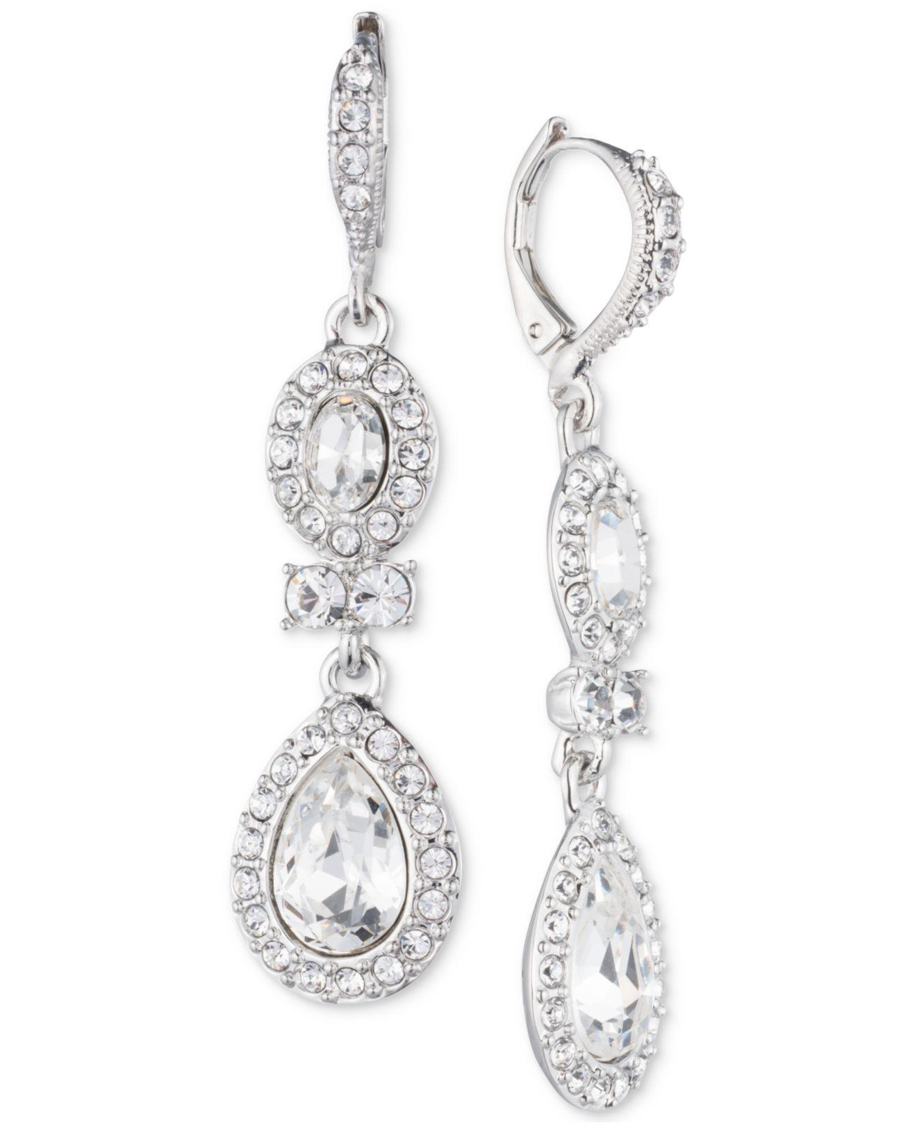 Givenchy Women S Metallic Faceted Stone And Crystal Double Drop Earrings