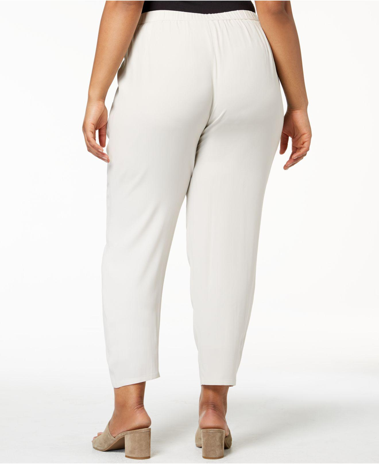 bbbc14da225 Lyst - Eileen Fisher Plus Size System Silk Pull-on Pants