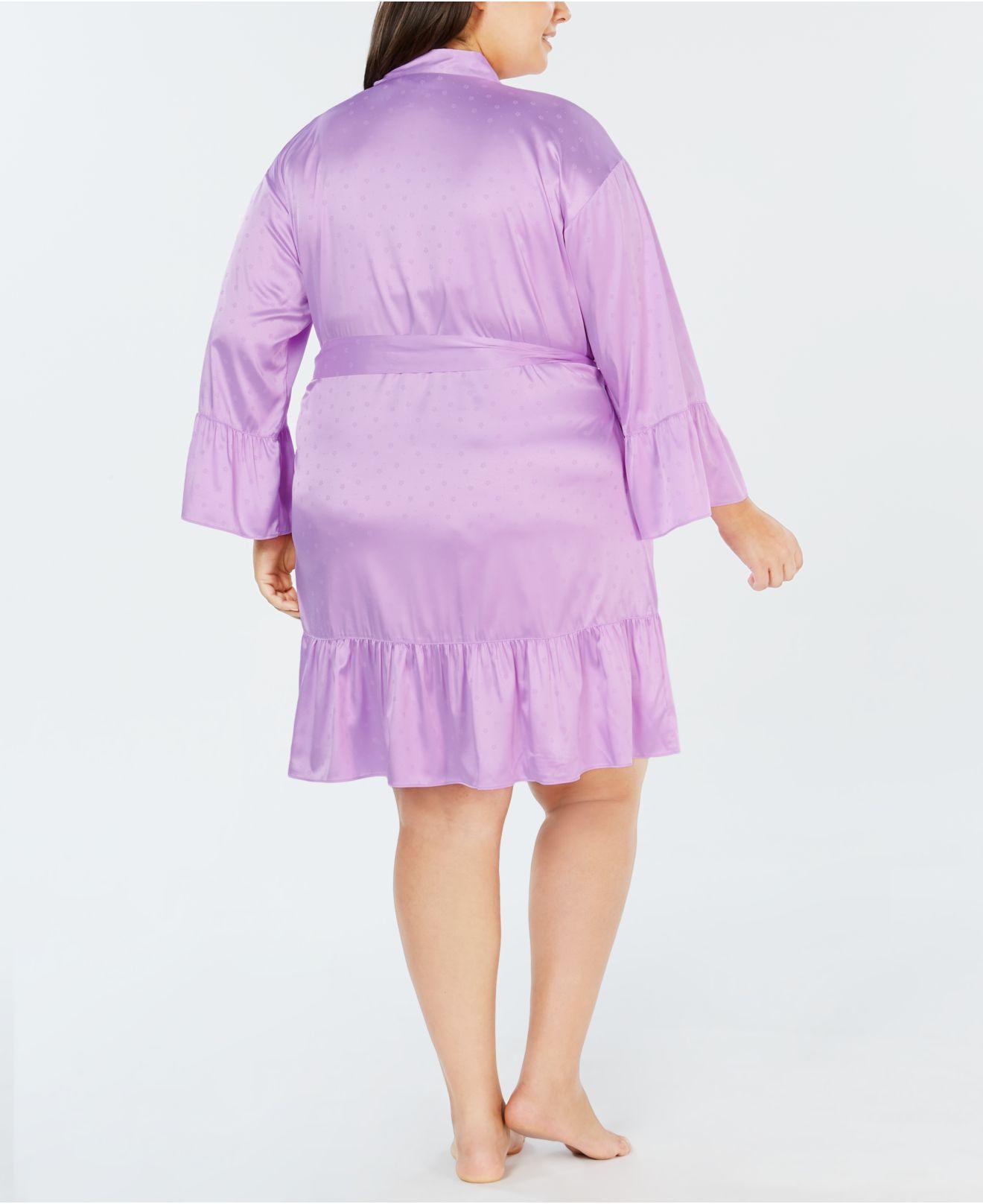 53ab438751566 Lyst - INC International Concepts I.n.c. Plus Size Satin Jacquard Flounce  Wrap Robe