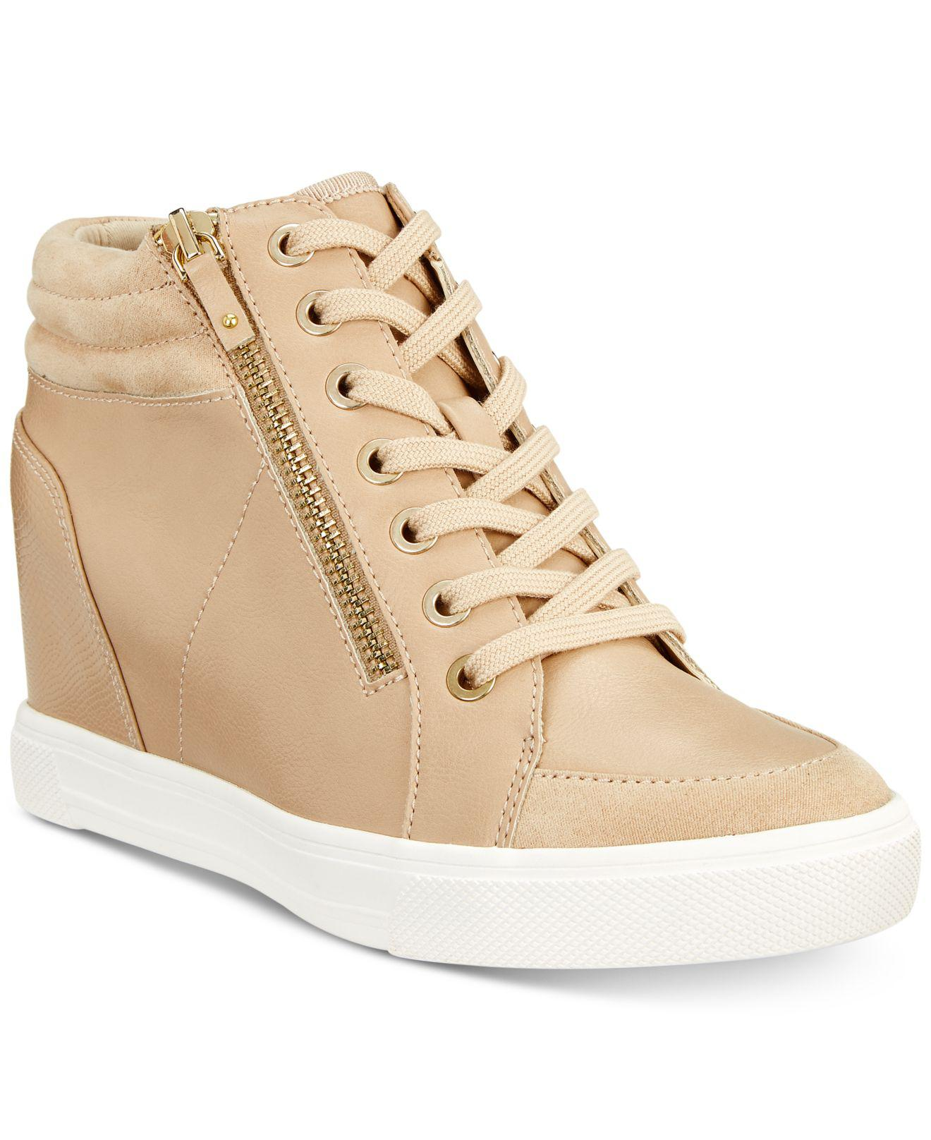 e1d5a136cd1 Lyst - ALDO Kaia Lace-up Wedge Sneakers in Natural