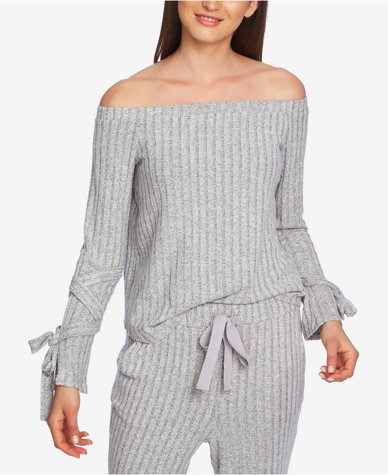 efd18dcbc52faf Lyst - 1.STATE Cozy Off-the-shoulder Tie-sleeve Top in Gray
