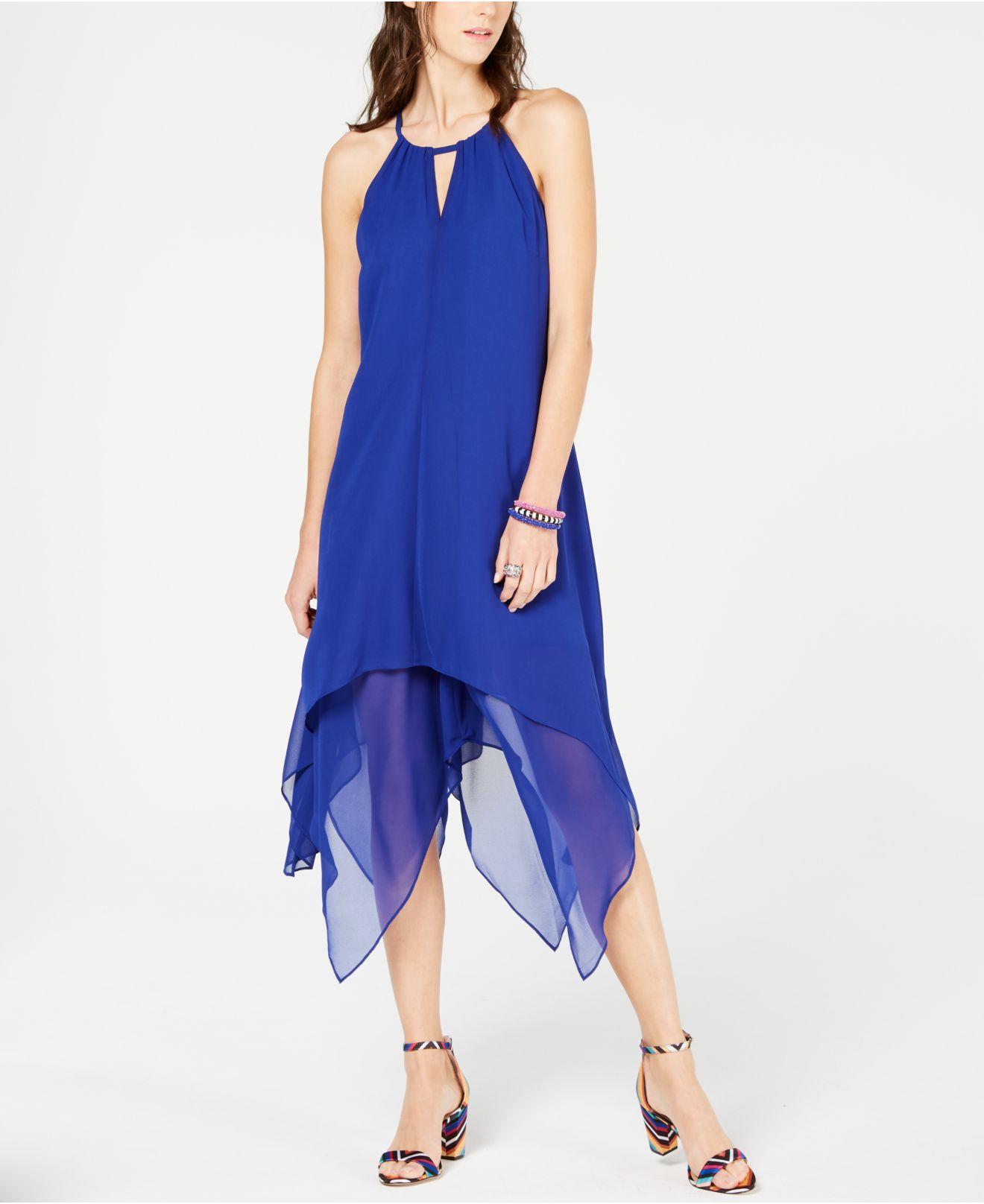 9369c7563db19 INC International Concepts. Women's Blue I.n.c. Handkerchief-hem Dress ...
