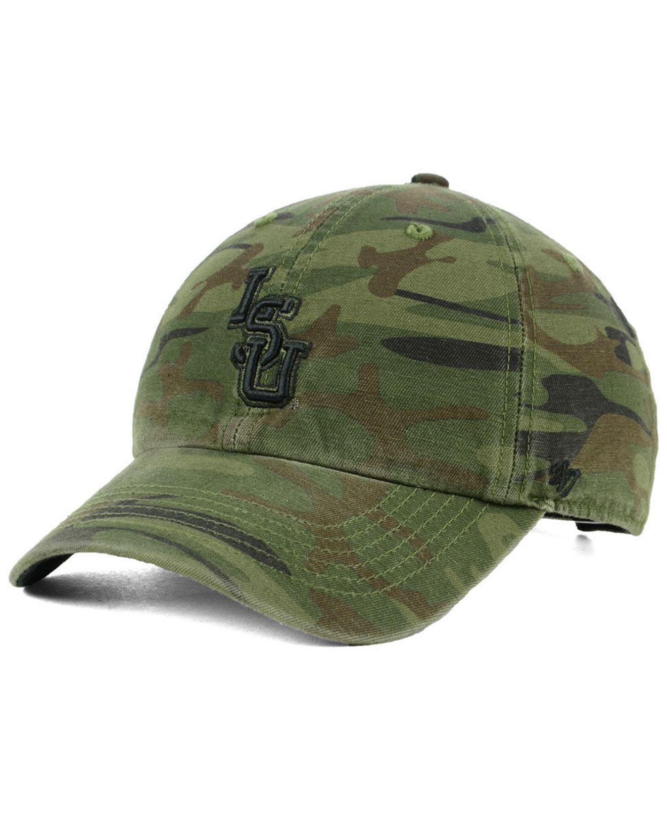 3c39336cc43 Lyst - 47 Brand Lsu Tigers Regiment Clean Up Strapback Cap in Green ...