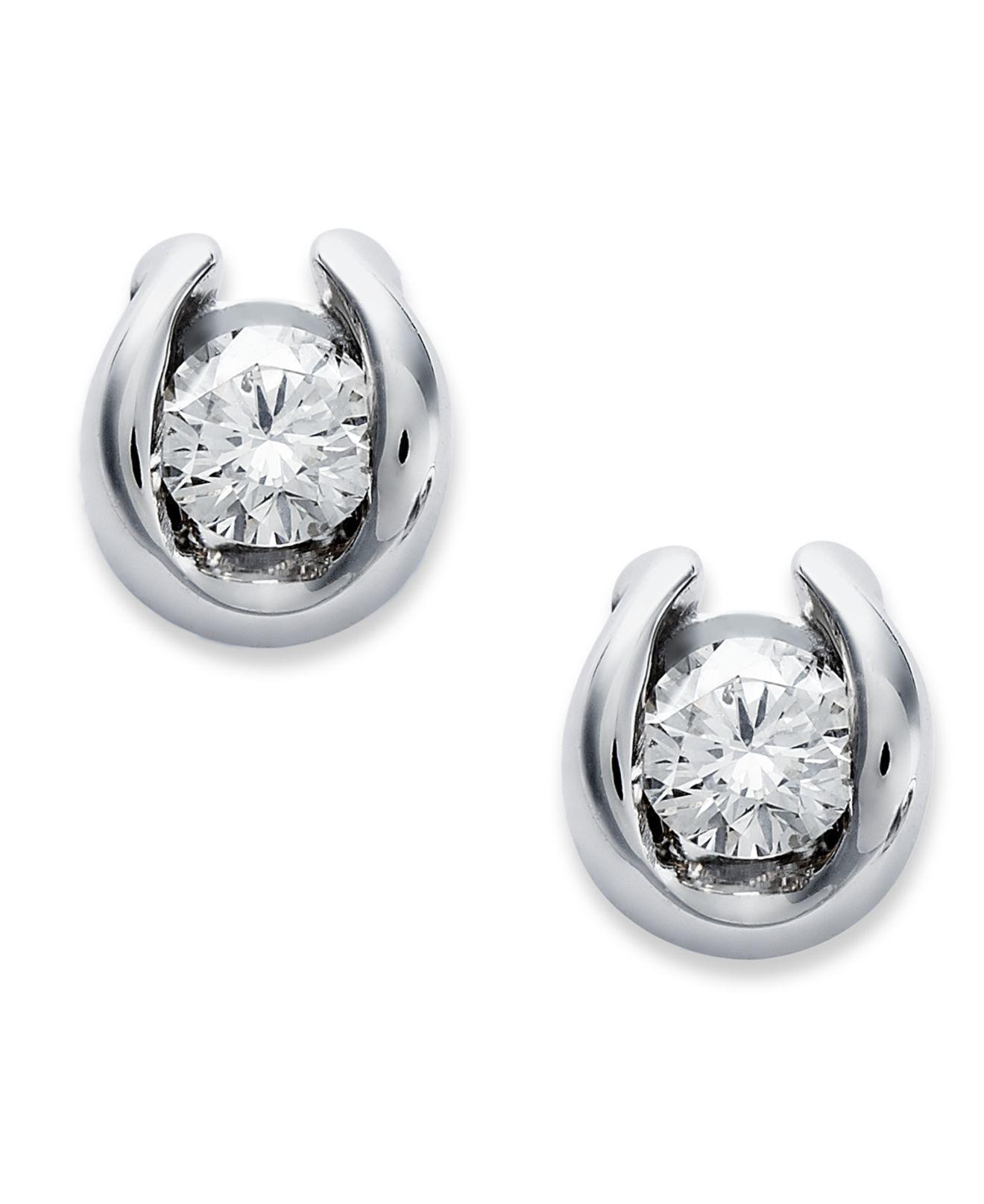 83c284202d1be Macy s - Bezel-set Diamond Earrings In 14k White Gold (1 7 Ct. View  fullscreen