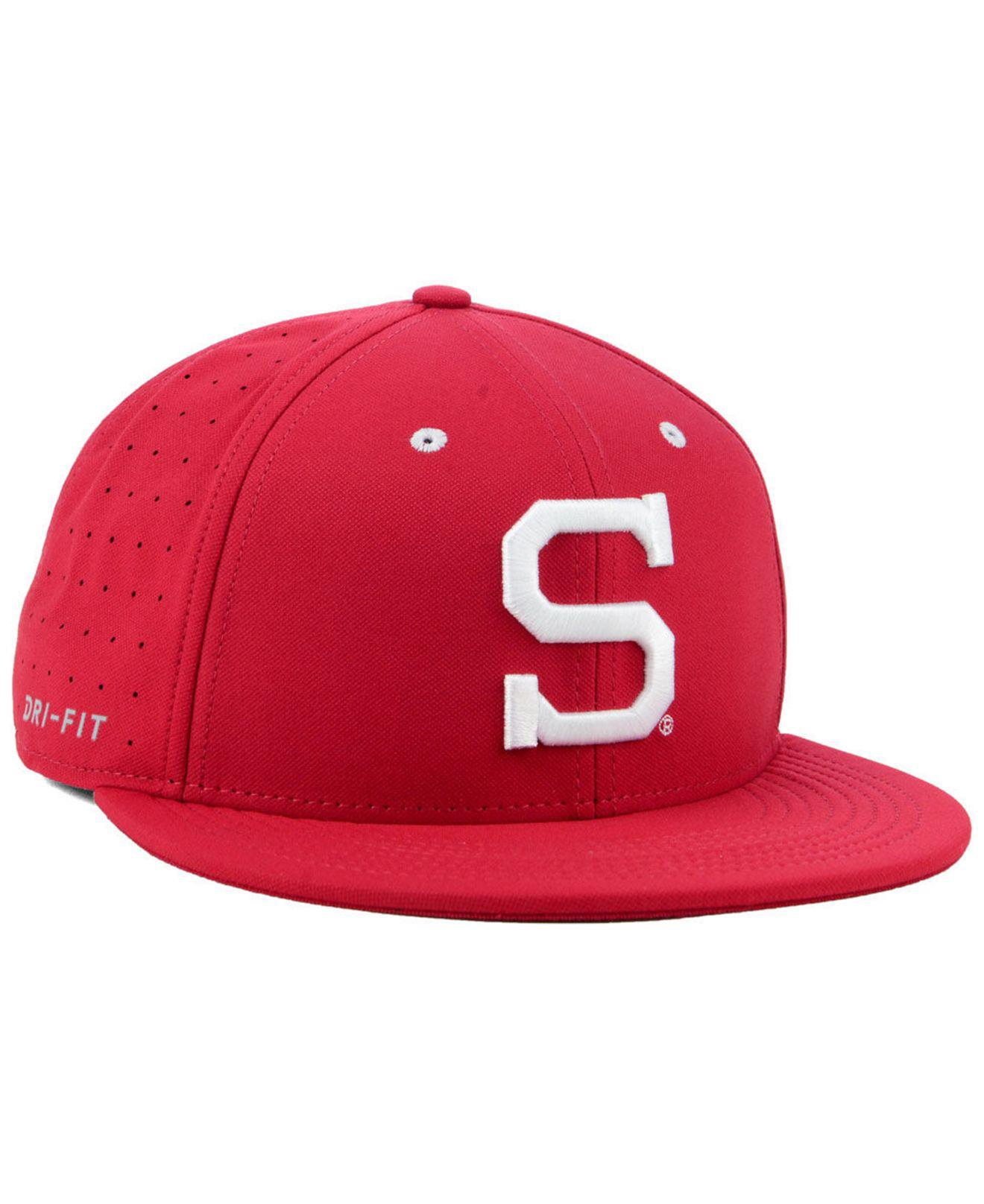 98aebd535a3 ... italy nike red stanford cardinal aerobill true fitted baseball cap for men  lyst. view fullscreen