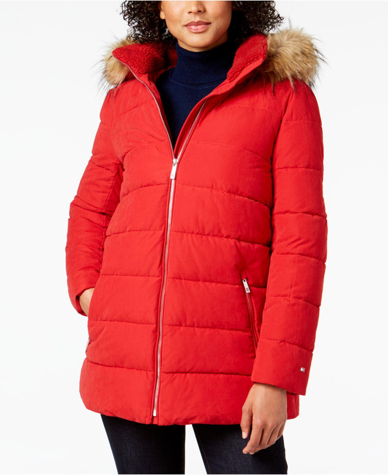 ce443d668fc80 Lyst - Tommy Hilfiger Faux-fur-trim Hooded Puffer Coat in Red
