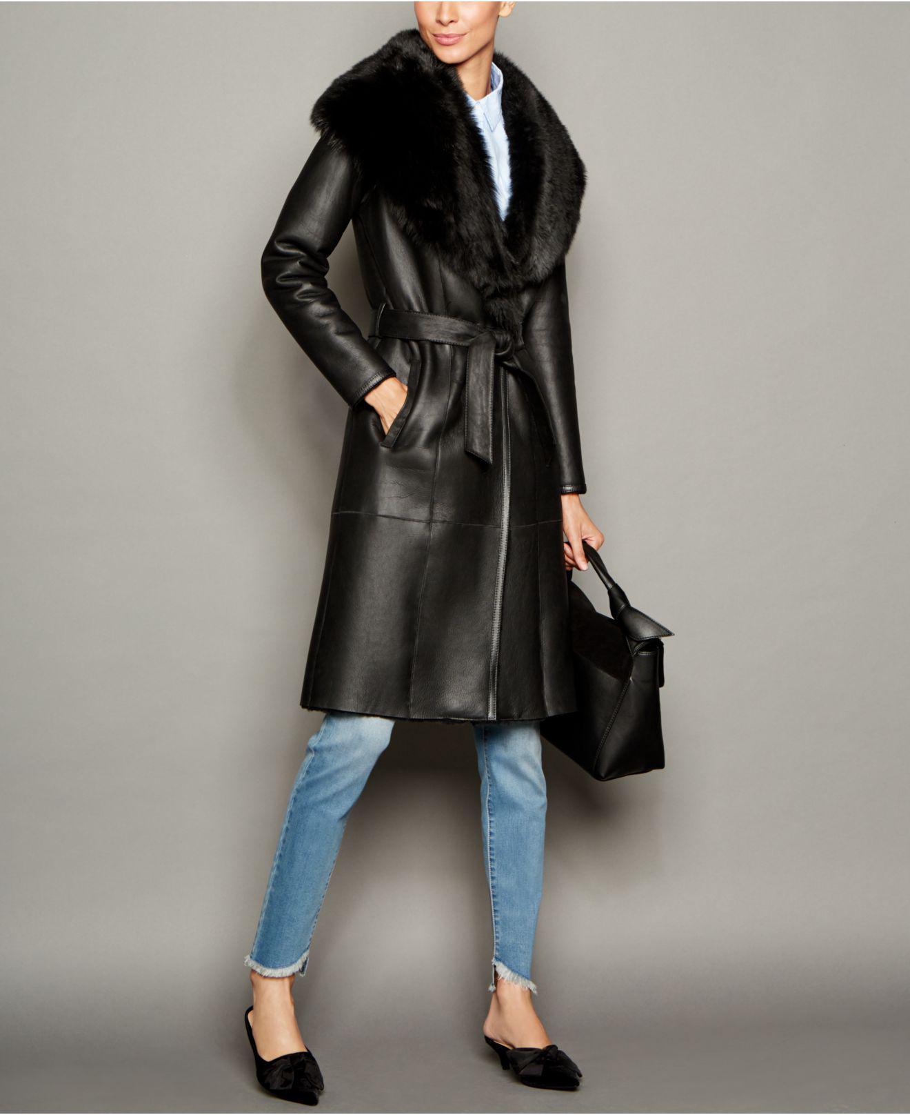 99c25256f6c Lyst - The Fur Vault Shearling Lamb Coat in Black