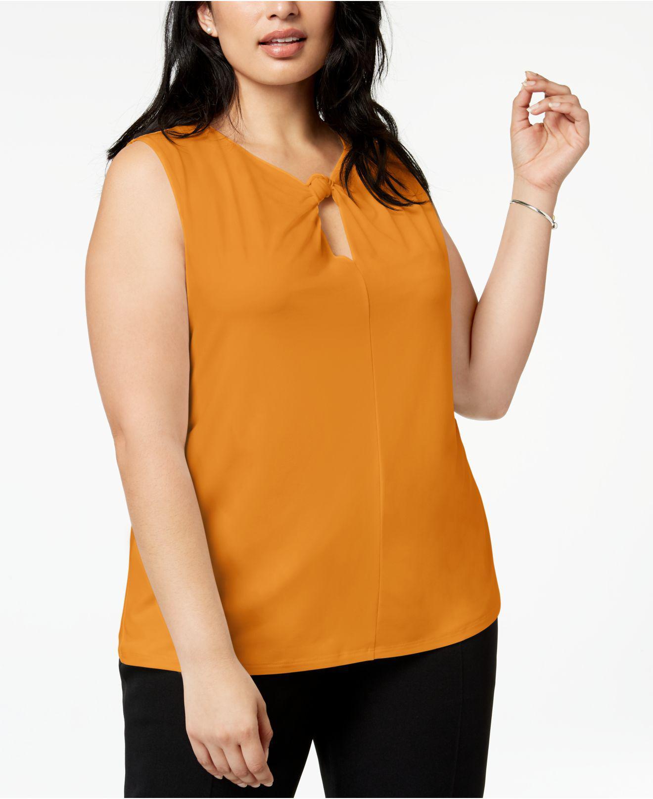 7950818f6cc Nine West Plus Size Twisted Keyhole Top in Orange - Lyst