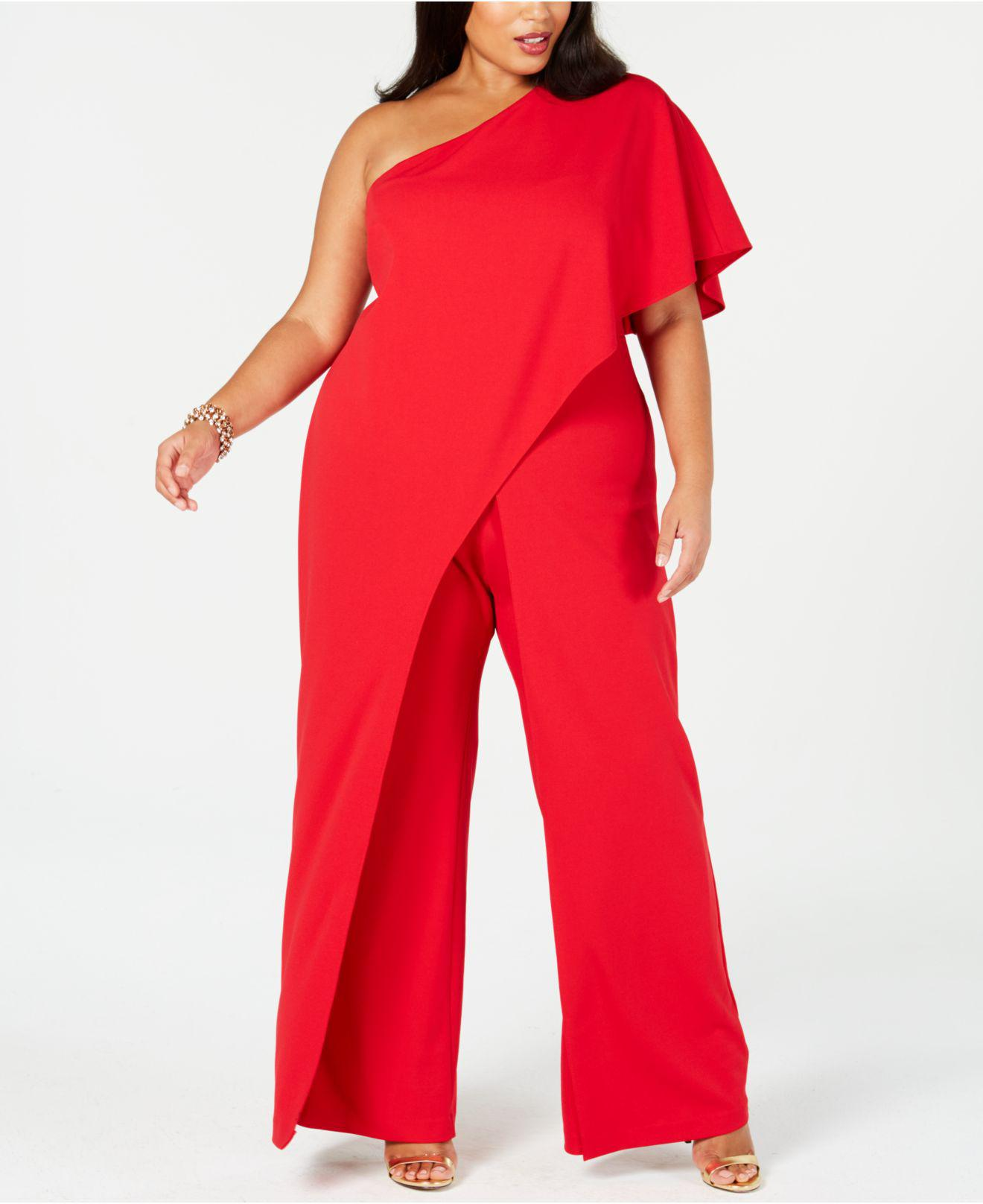 de9e1d538f7d Lyst - Adrianna Papell Plus Size Draped One-shoulder Jumpsuit in Red ...