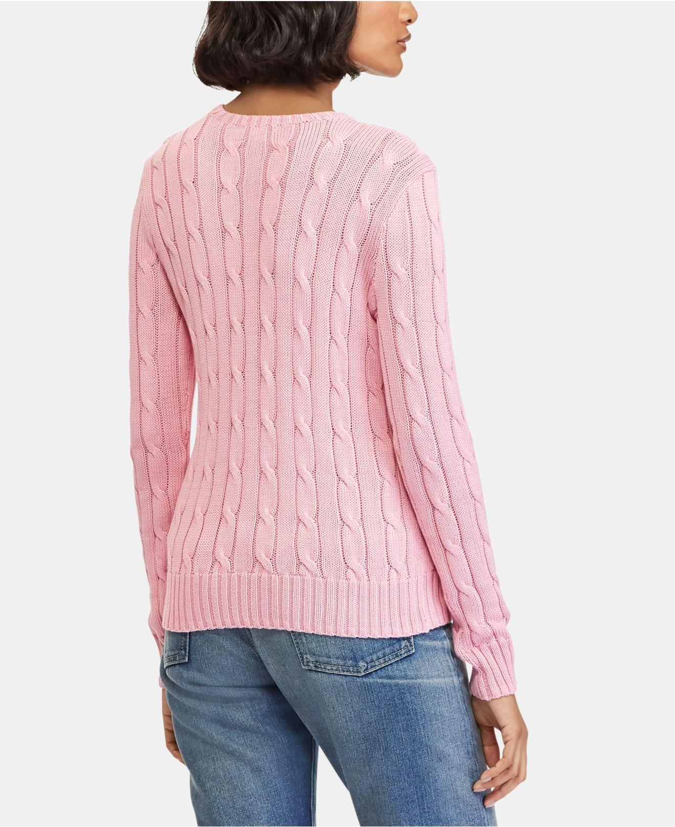15f5ae404 Lyst - Polo Ralph Lauren Cable-knit Cotton Sweater in Pink - Save 40%