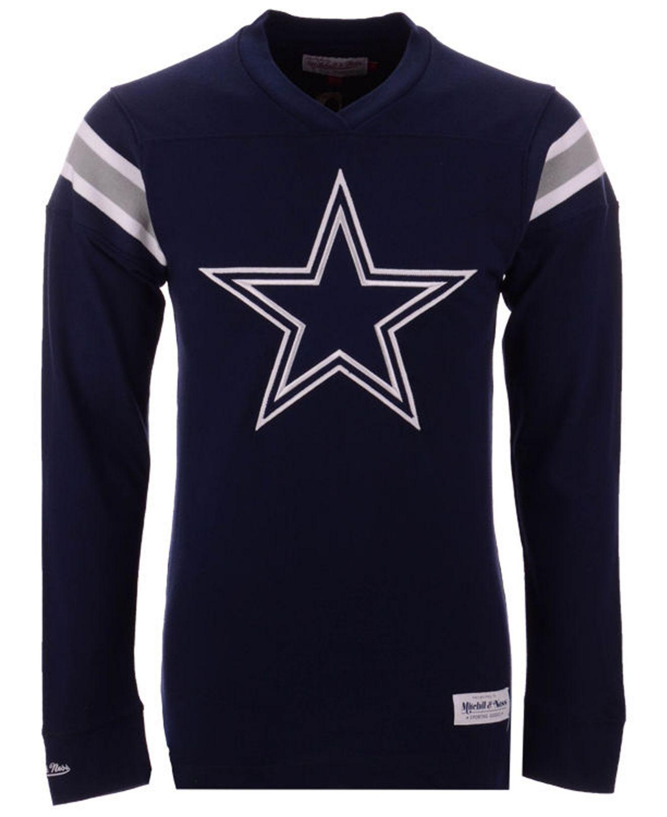 78527d8ec Mitchell   Ness. Men s Blue Dallas Cowboys Team Captain V-neck Long Sleeve T -shirt