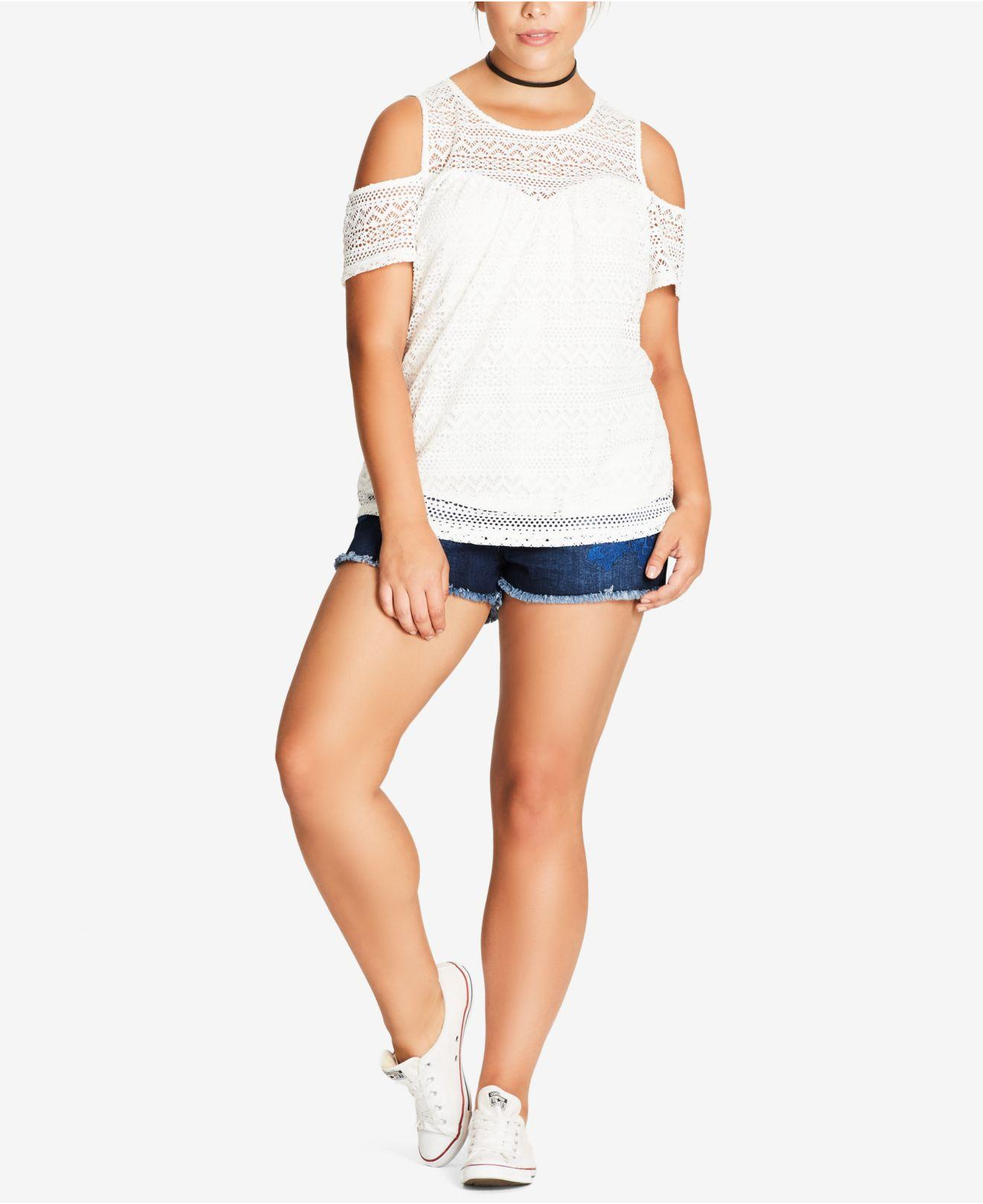 307ec6d0cb Lyst - City Chic Trendy Plus Size Cold-shoulder Illusion Top in White