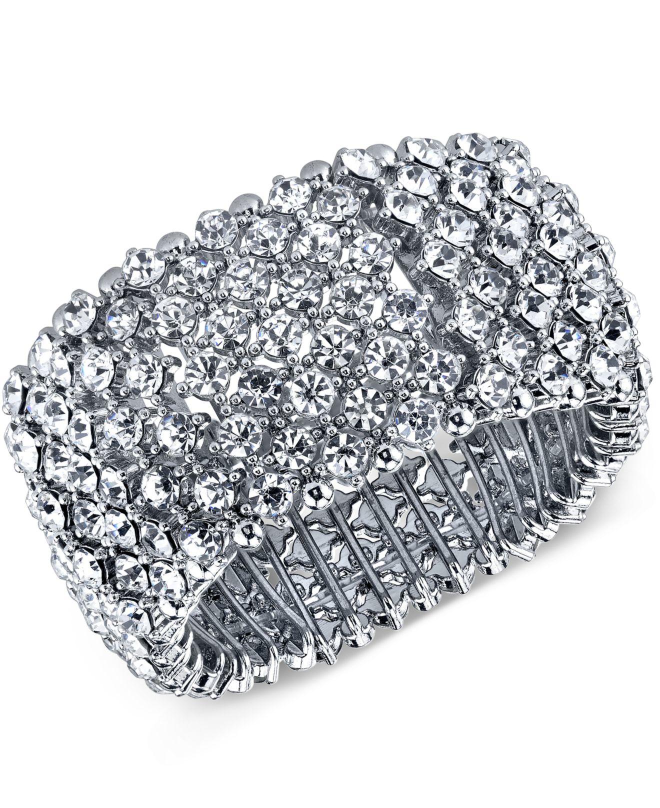 Lyst 2028 Silver Tone Wide Pav 233 Stretch Bracelet In Metallic
