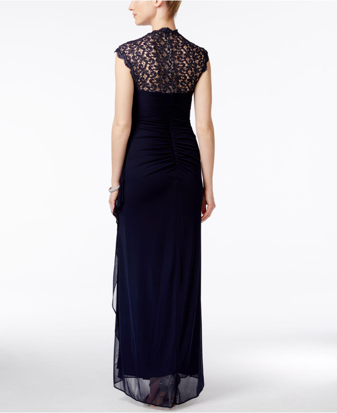 Lyst - Xscape Illusion Back Chiffon and Lace Gown in Black - Save ...
