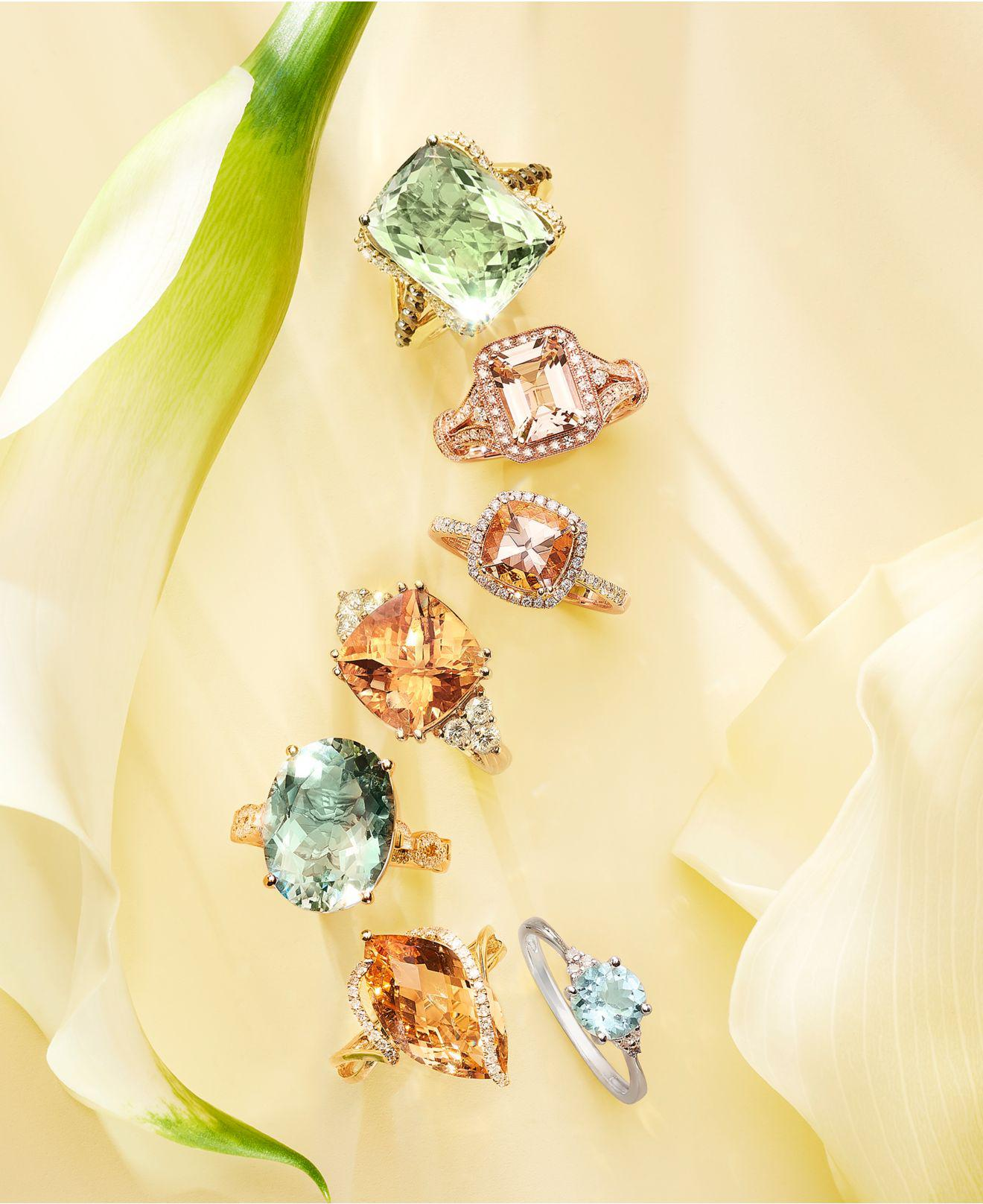 b7707b4fecc8 Lyst - Effy Collection Morganite (1-5 8 Ct. T.w.) And Diamond (1 4 Ct. T.w.)  Ring In 14k Rose Gold in Metallic