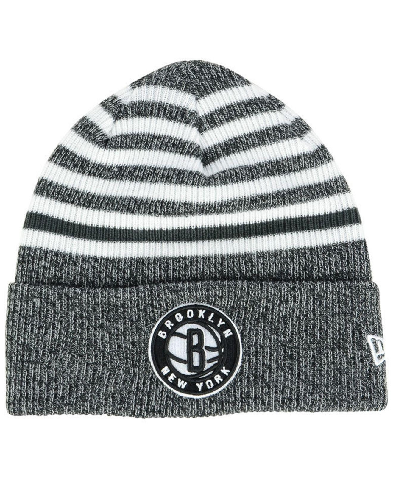 new product 68209 cc047 ... where can i buy ktz. mens brooklyn nets striped cuff knit hat 049e1  2fd54 ...