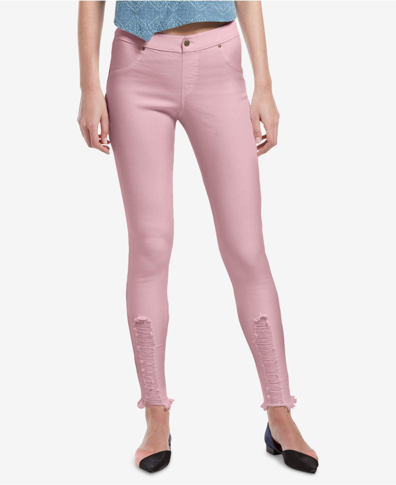5b8749fc099cc3 Lyst - Hue ® Ripped Denim Leggings in Pink