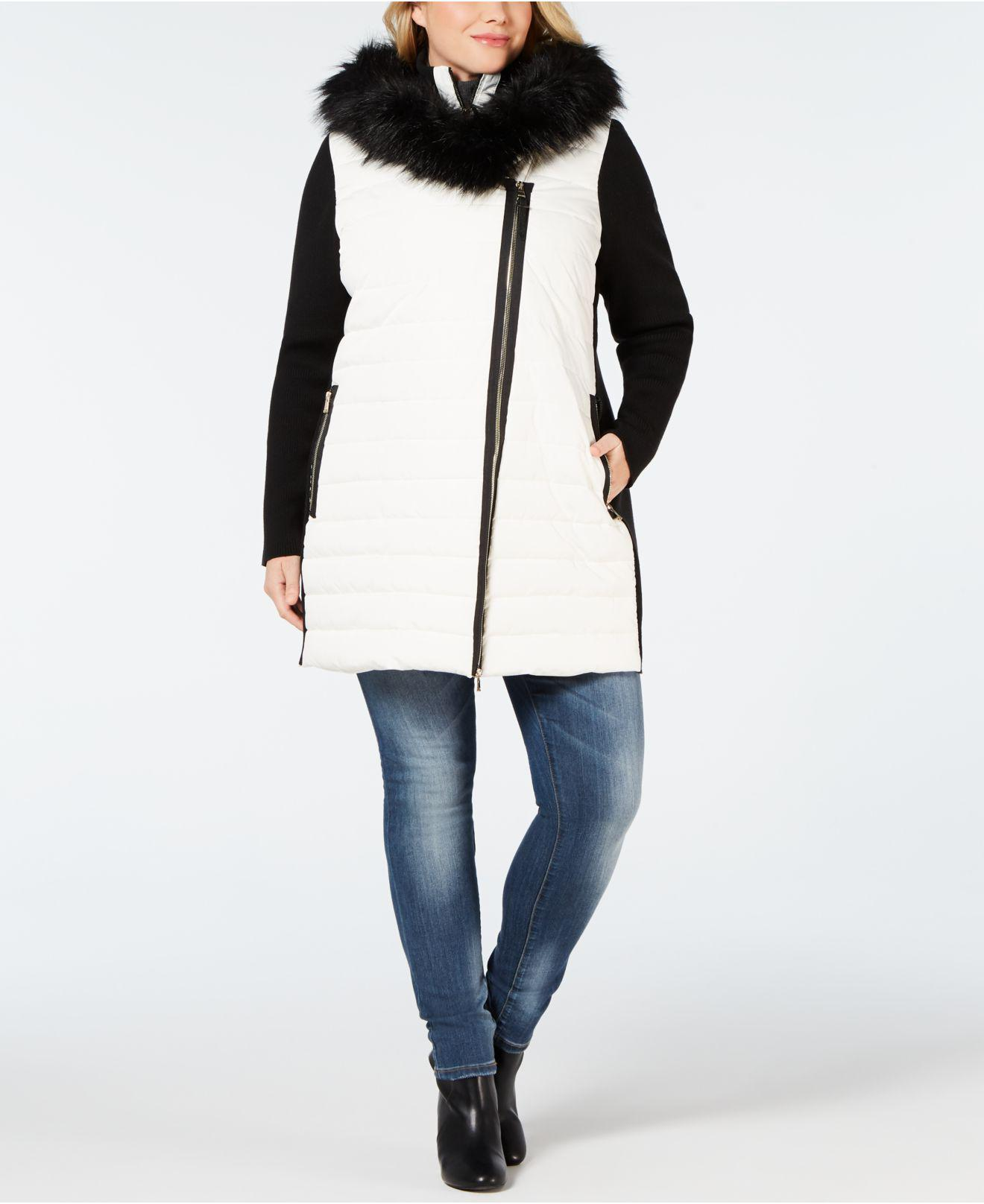 8fe1a1a9f8 Lyst - Calvin Klein Performance Plus Size Faux-fur Trimmed Hooded ...