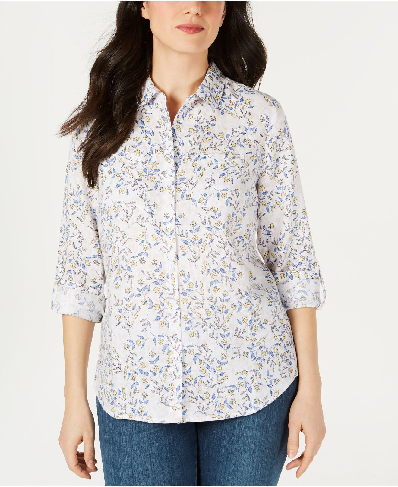 9cd2f89f21f Lyst - Charter Club Printed Linen Button-up Top