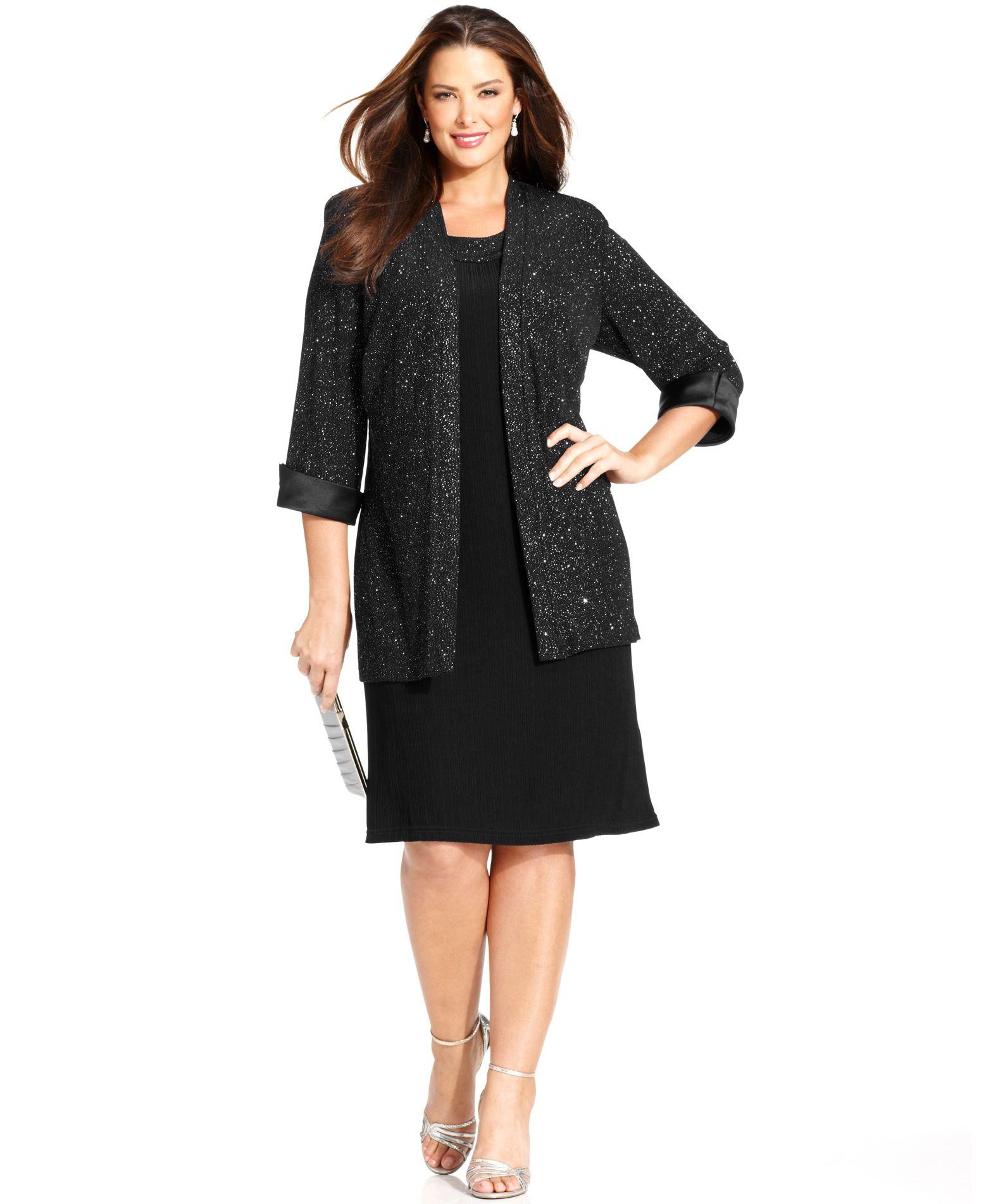 R m richards r m richards plus size metallic shift dress for Macy black dress wear to wedding