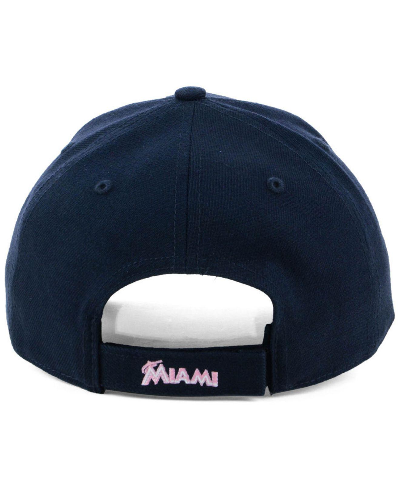 huge selection of b7dc5 184a6 ... best price lyst 47 brand miami marlins navy pink mvp cap in blue for men  b12a2