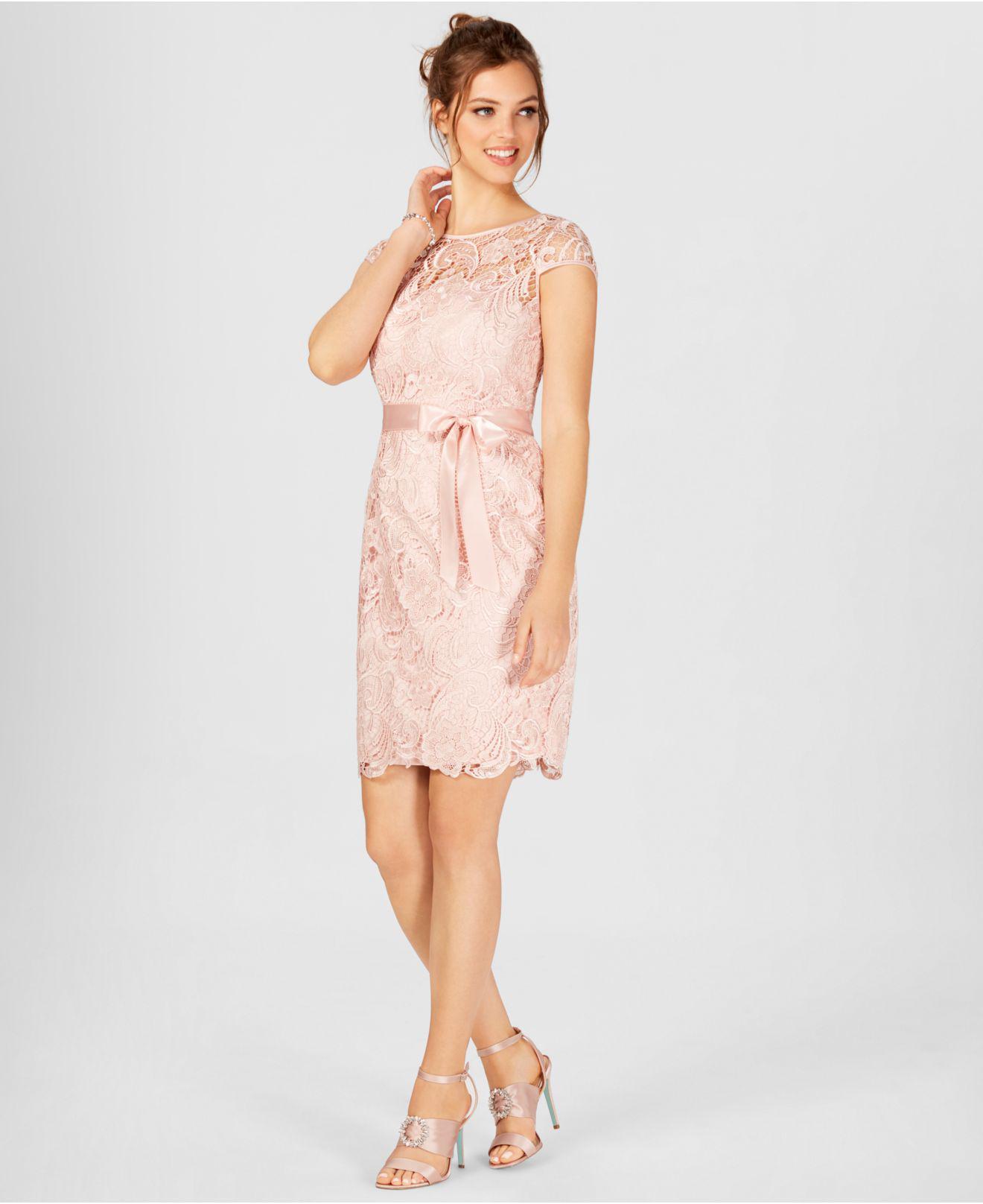 43abb7f2 Adrianna Papell - Pink Cap-sleeve Illusion Lace Sheath - Lyst. View  fullscreen