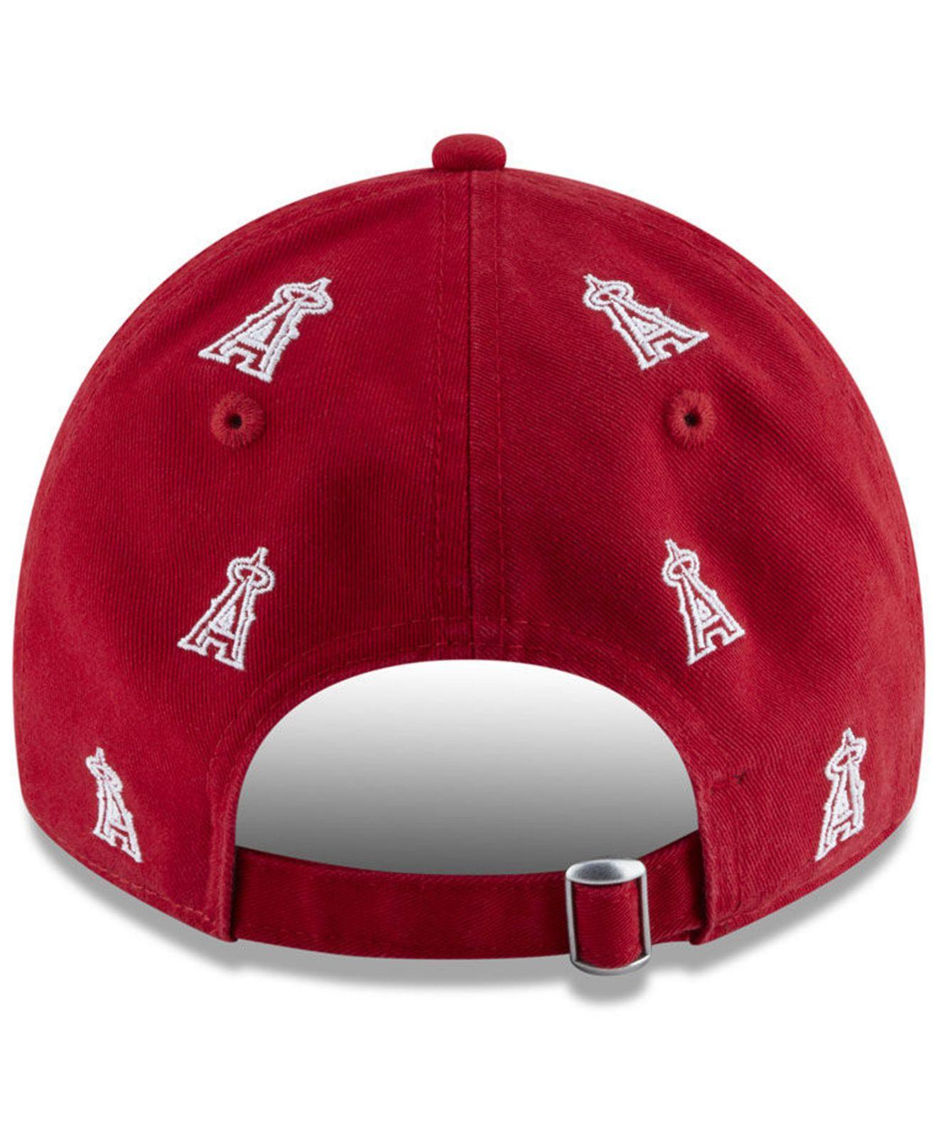 premium selection eb34b ff9af KTZ - Red Los Angeles Angels Logo Scatter Adjustable 9twenty Cap - Lyst.  View fullscreen