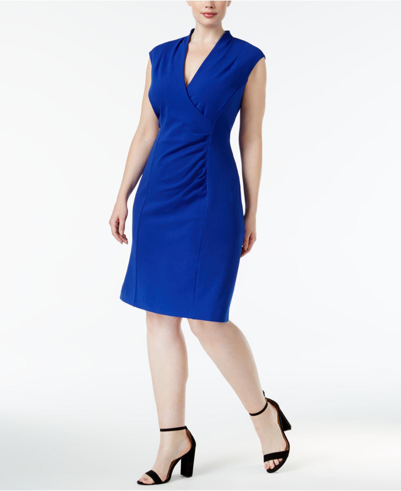 21649c44ea Lyst - Calvin Klein Plus Size Ruched Scuba Crepe Dress in Blue