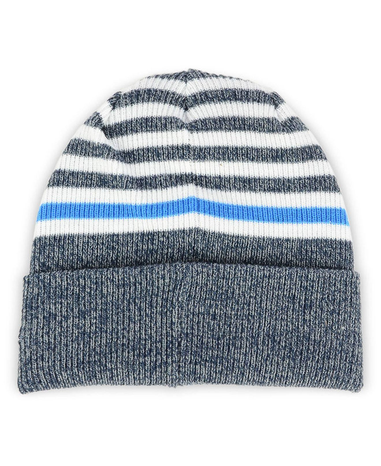 694249b2250a3 purchase lyst ktz los angeles chargers striped2 cuff knit hat in blue 24d2e  f0079