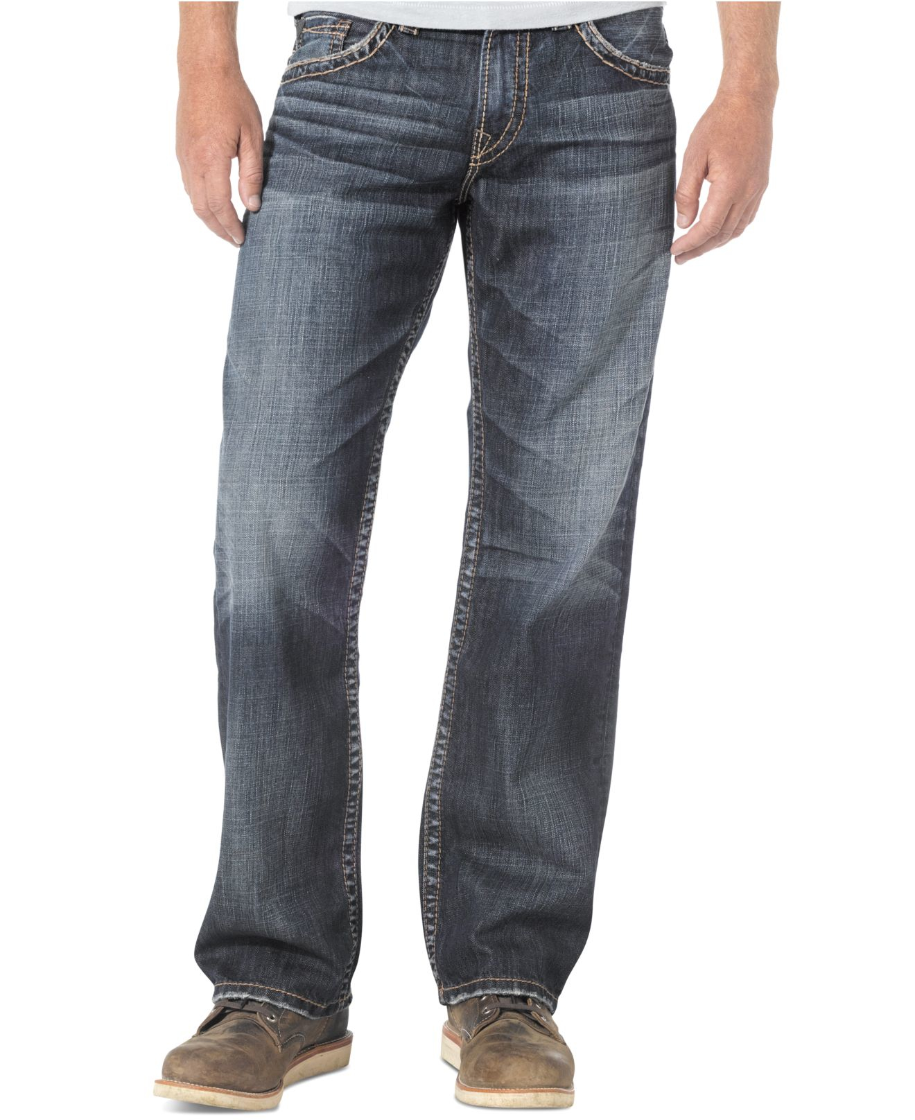 lyst silver jeans co loose fit straight leg gordie jeans in blue for men. Black Bedroom Furniture Sets. Home Design Ideas