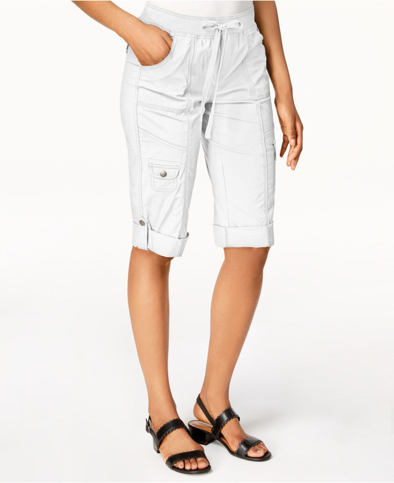 a2d03c50d1552 Style   Co. Women s White Drawstring Cargo Shorts
