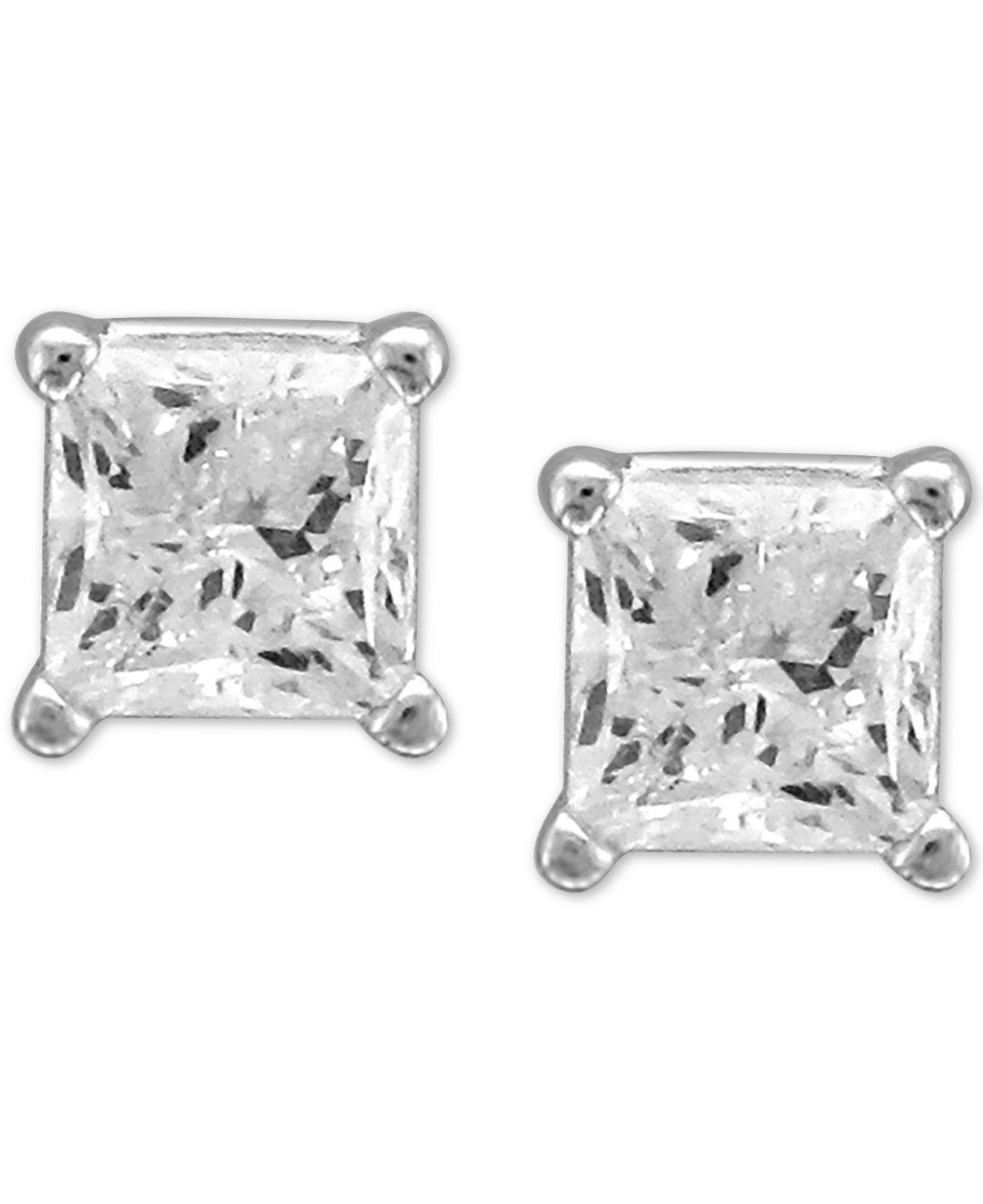 d2a55b945 Macy's. Women's Metallic Diamond Princess Stud Earrings .