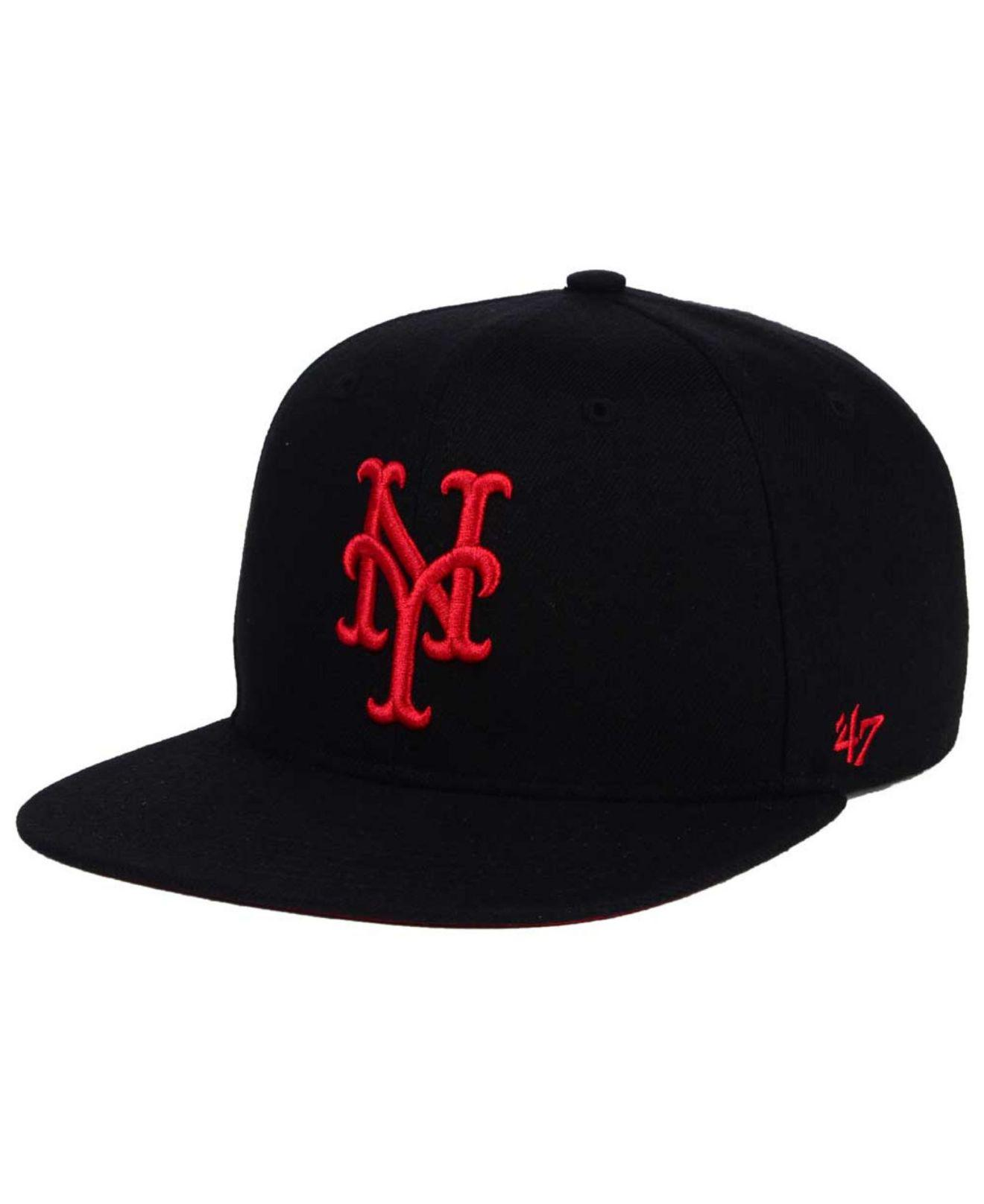 the best attitude 56e7e 295c0 ... where to buy 47 brand. mens new york mets black red shot snapback cap  8f5bf