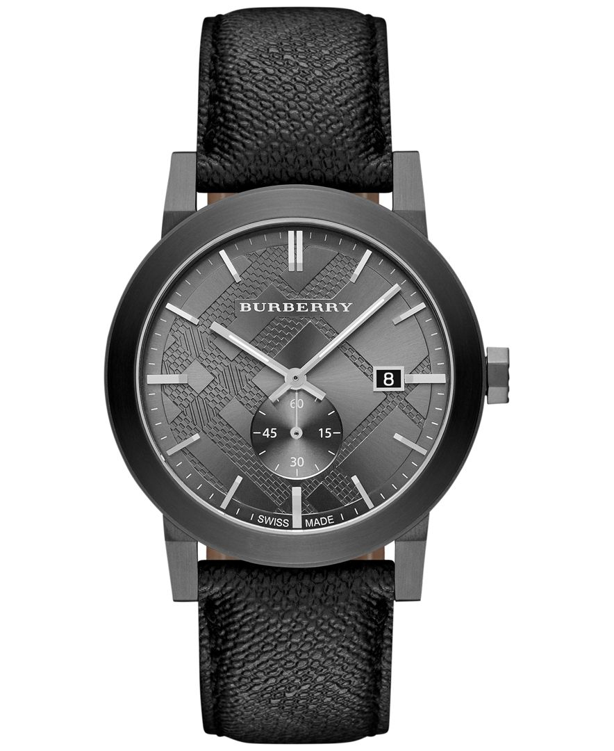 Burberry men 39 s swiss the city gray beat check strap watch 42mm bu9903 in black for men lyst for Burberry watches