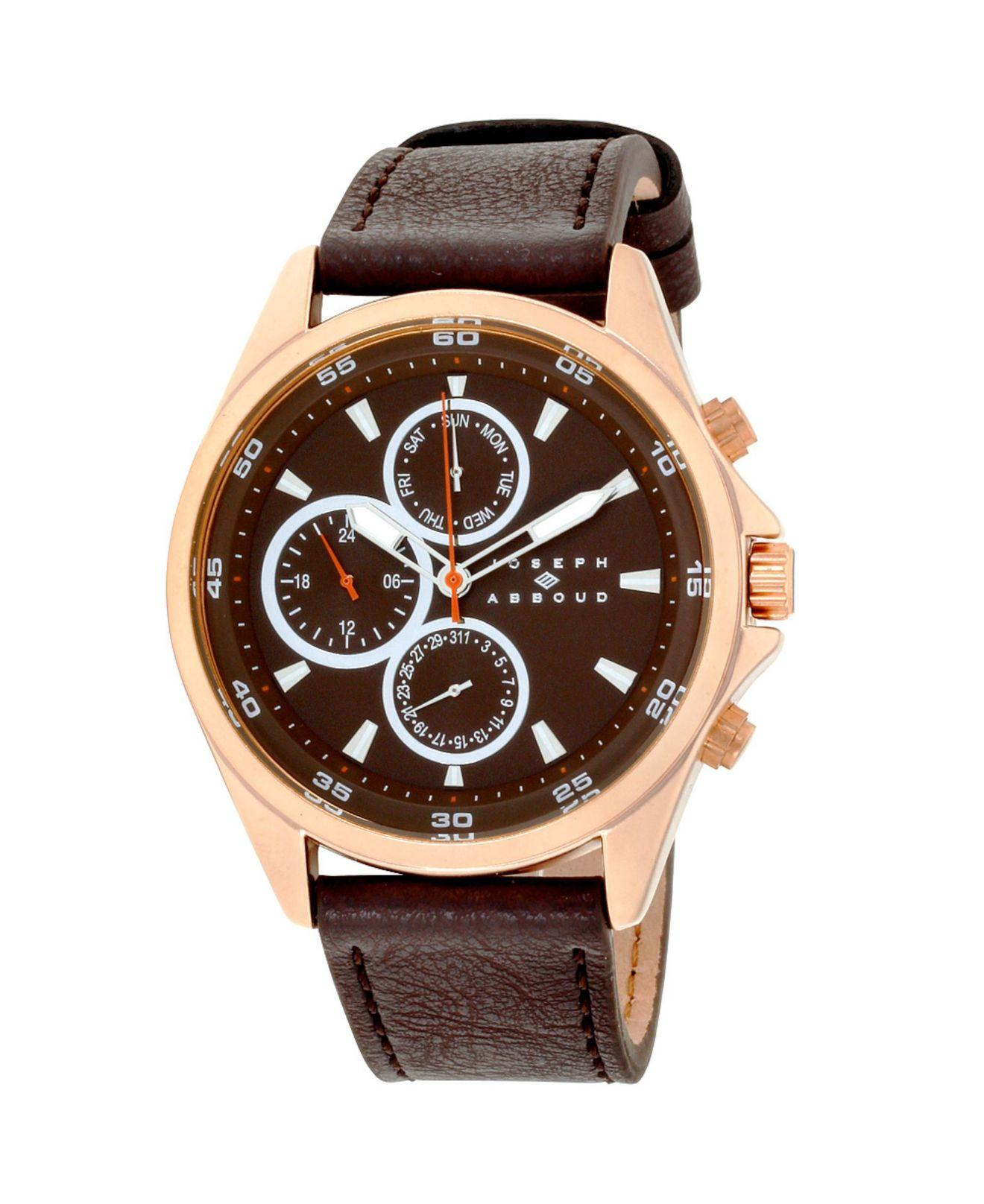 Men's Brown Analog Leather Watch