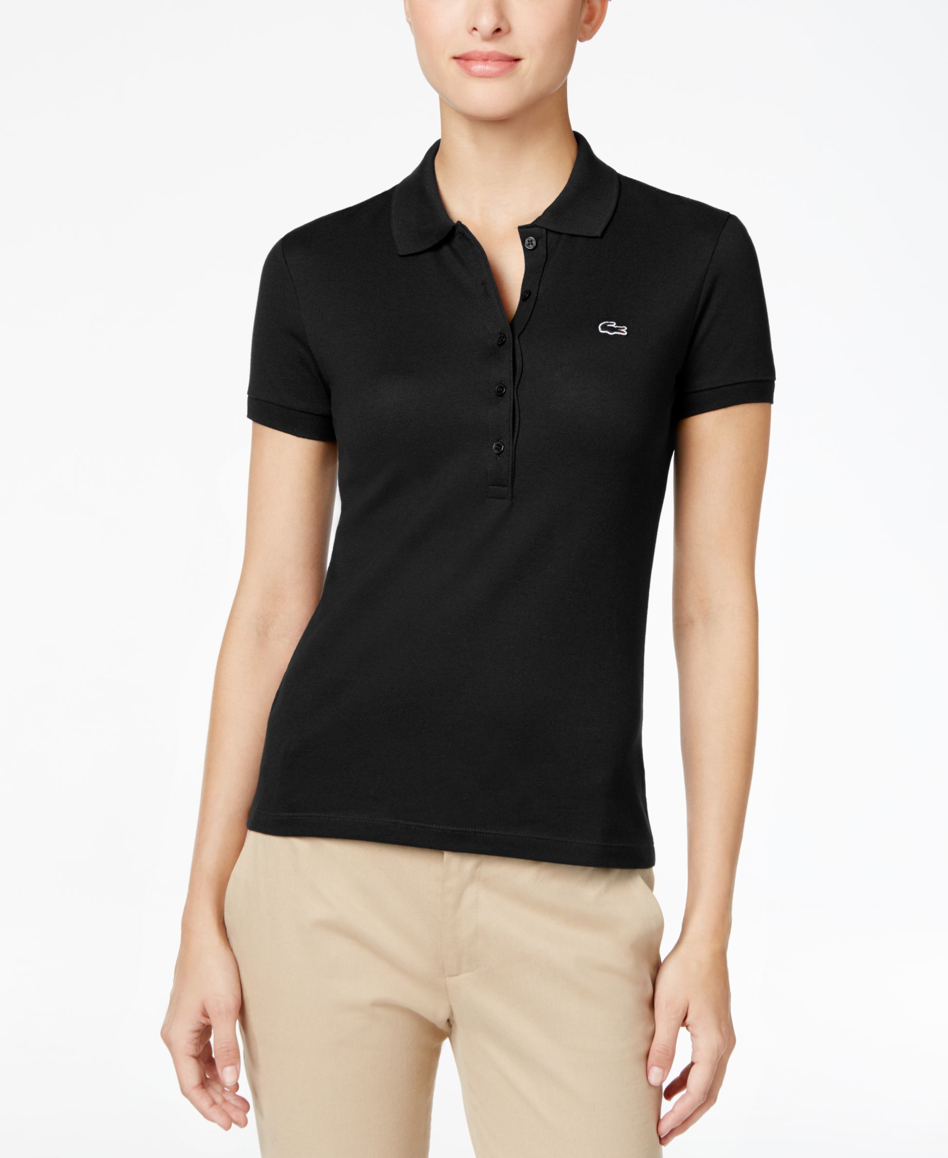 Lacoste five button slim fit polo in black lyst for Womens button up polo shirts