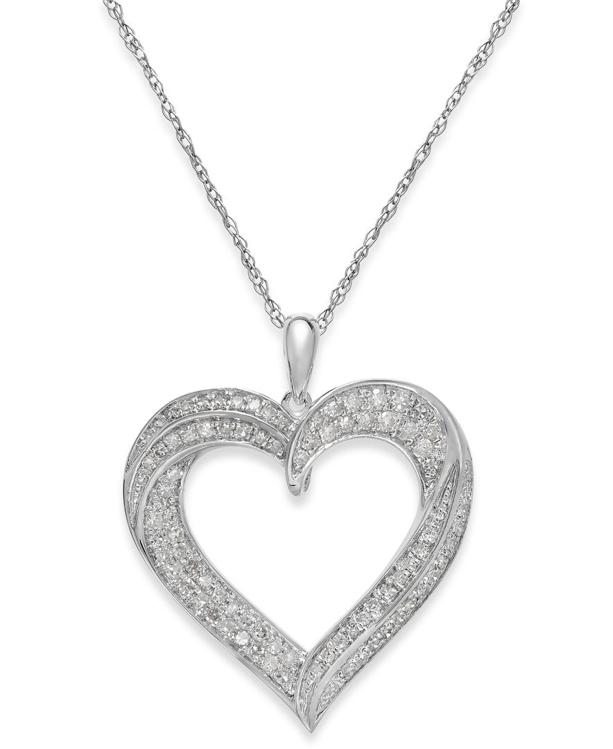 Compare Prices On 1ct Diamond Pendant Online Shopping Buy: Macy's Diamond Heart Pendant Necklace In Sterling Silver