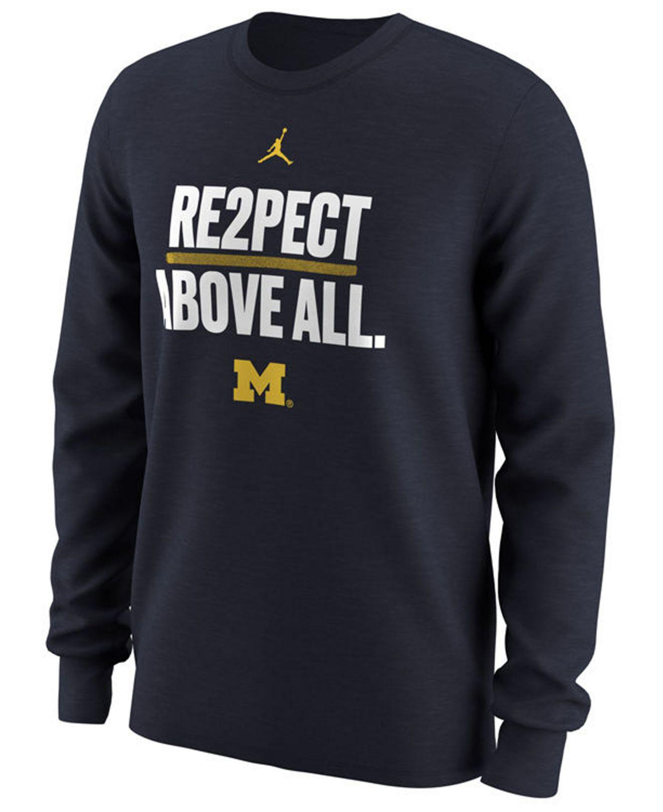 0371d7b2f80c5d Lyst - Nike Michigan Wolverines Re2pect Above All Long Sleeve T ...