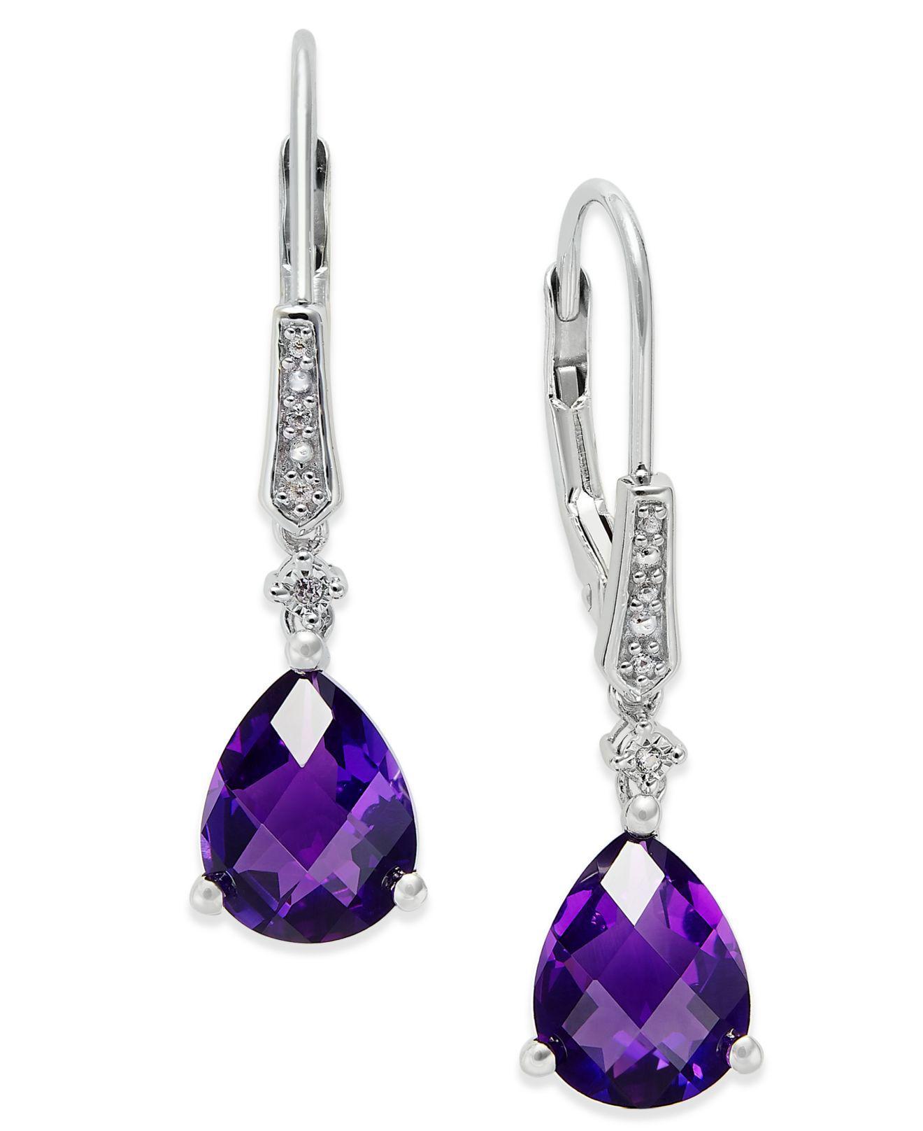 4562430a0 Macy's. Women's Metallic Gemstone (3 Ct. T.w.) And Diamond Accent Birthstone  Drop Earrings In Sterling Silver