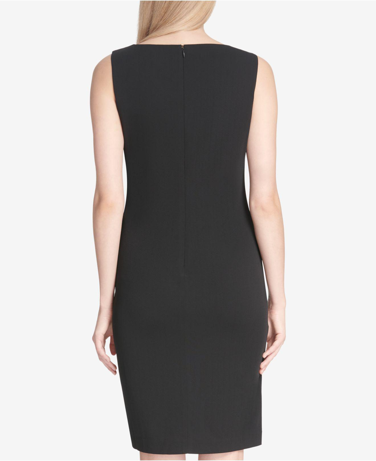 f508d2d1 Lyst - Calvin Klein Chain-detail Sleeveless Sheath Dress in Black