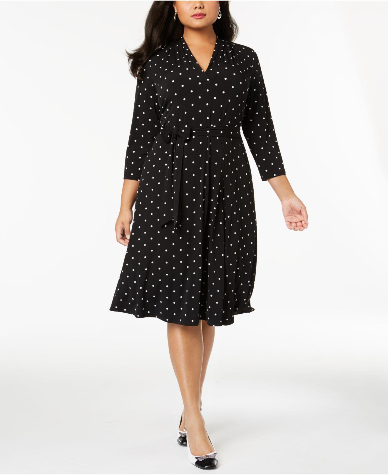 Lyst - Charter Club Plus Size Dot-print Fit & Flare Dress, Created ...